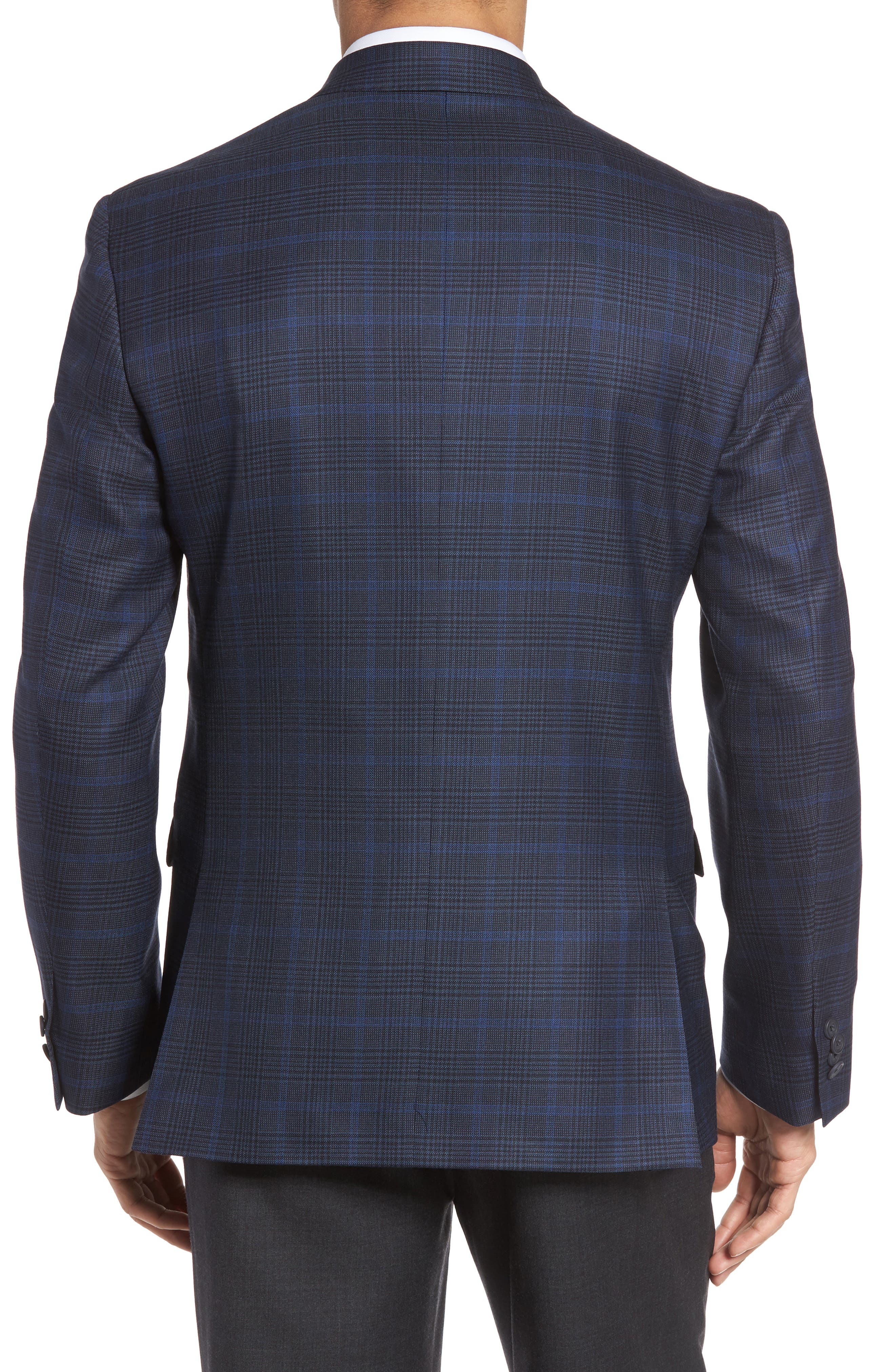 Classic Fit Plaid Wool Sport Coat,                             Alternate thumbnail 2, color,                             Navy