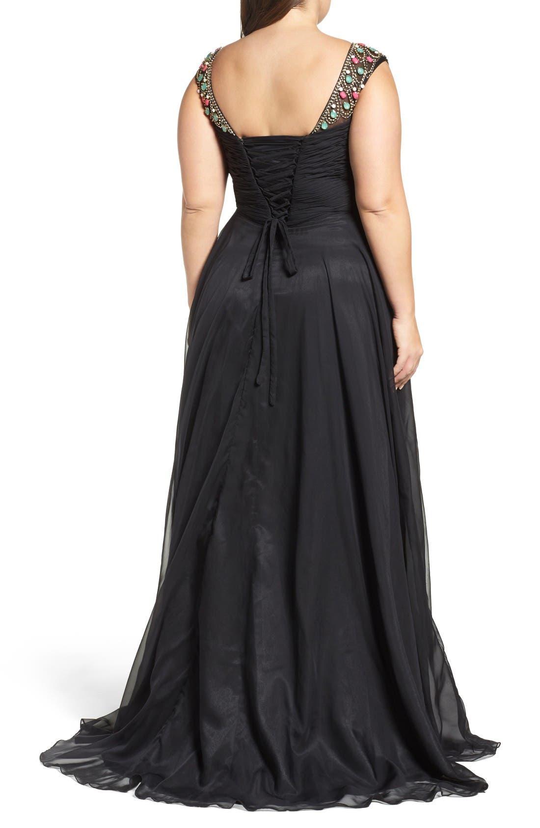 Alternate Image 2  - Mac Duggal Embellished Goddess Gown (Plus Size)