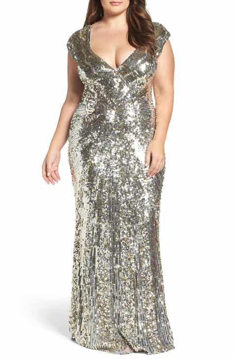 b381052f3d97 Mac Duggal Sequin Plunging V-Neck Gown (Plus Size)