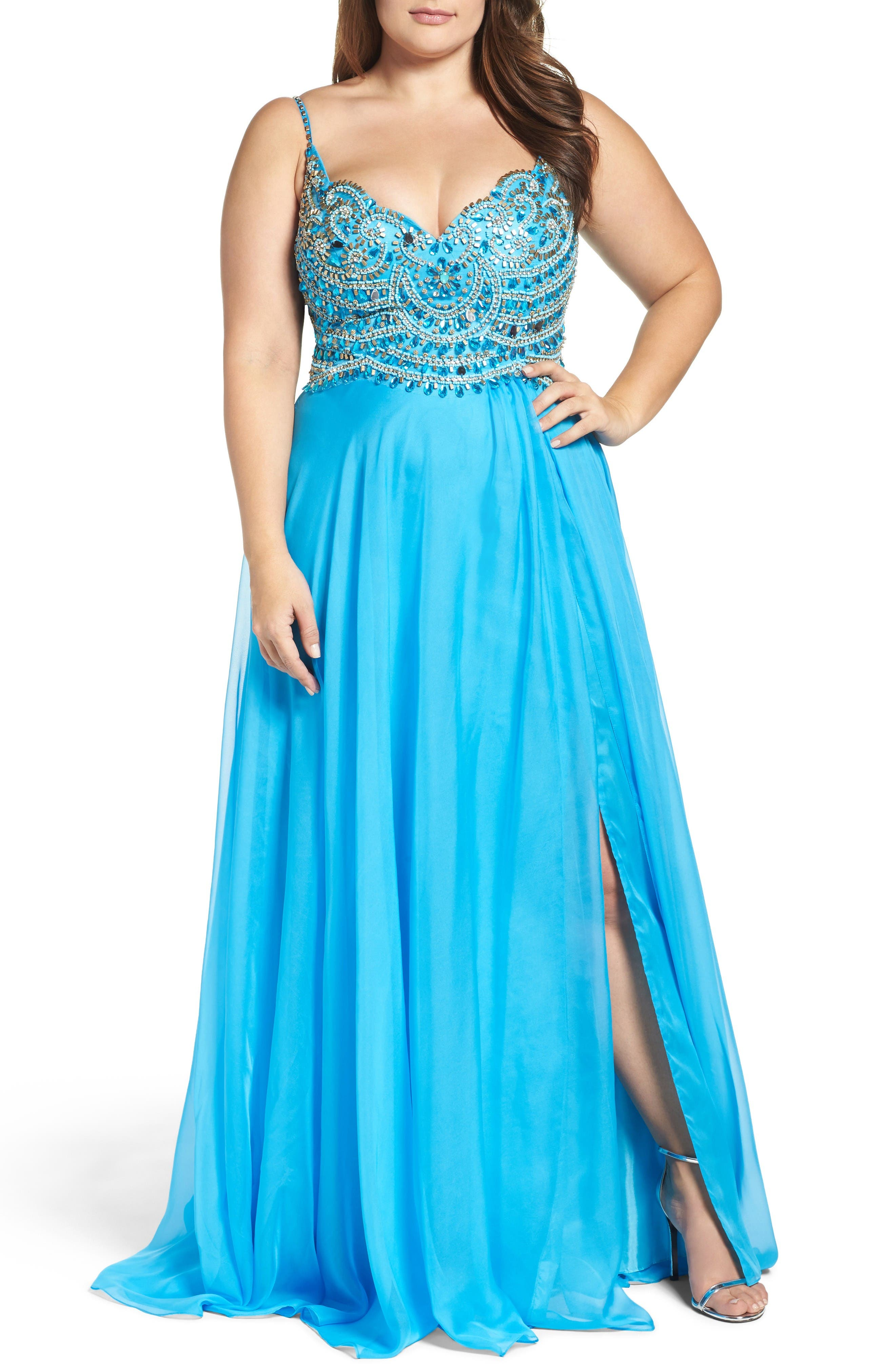 Embellished Gown,                         Main,                         color, Ocean Blue
