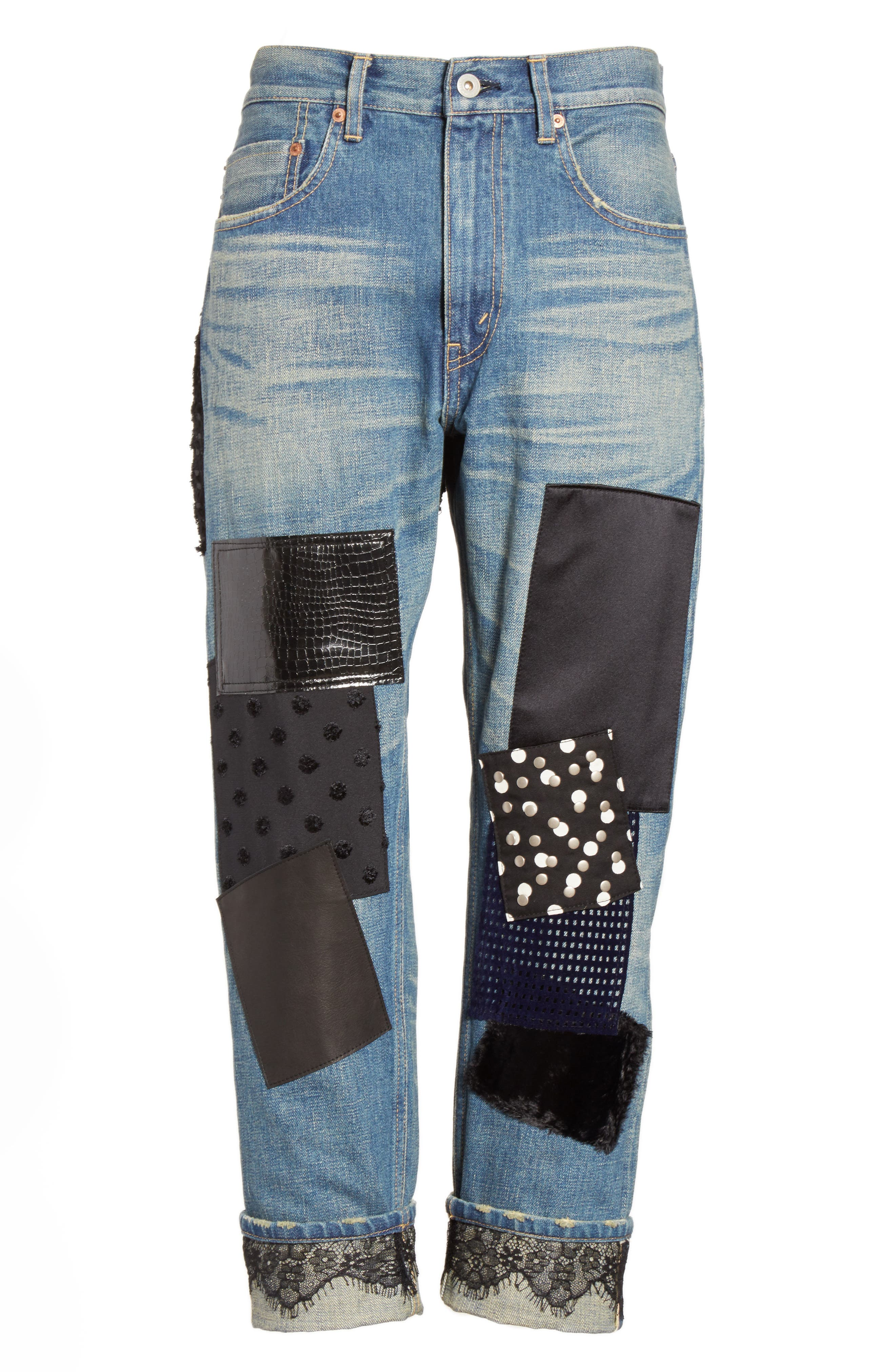 Patchwork Boyfriend Jeans,                             Alternate thumbnail 4, color,                             Indigo Black