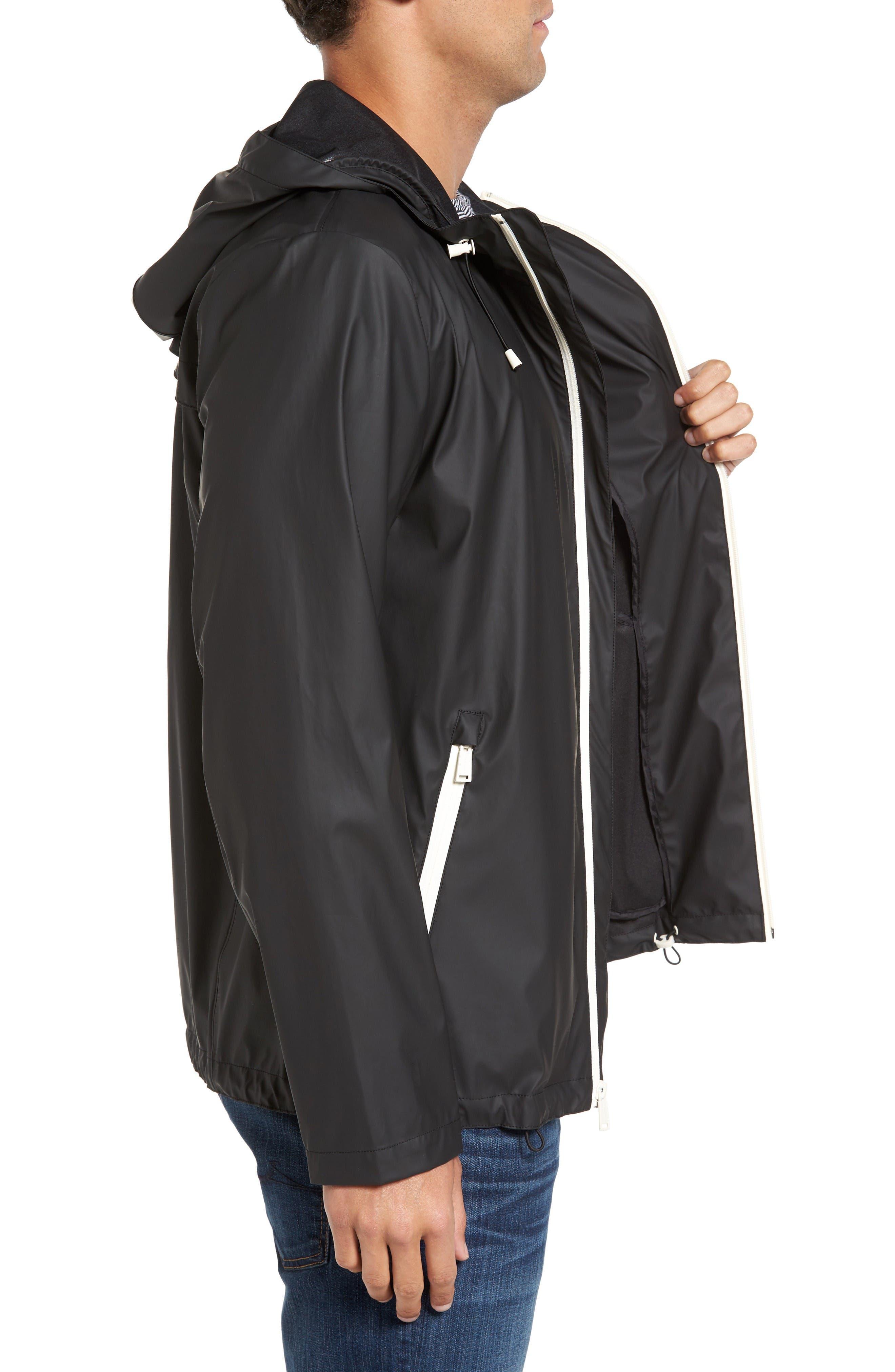 Rubberized Hooded Jacket,                             Alternate thumbnail 3, color,                             Black