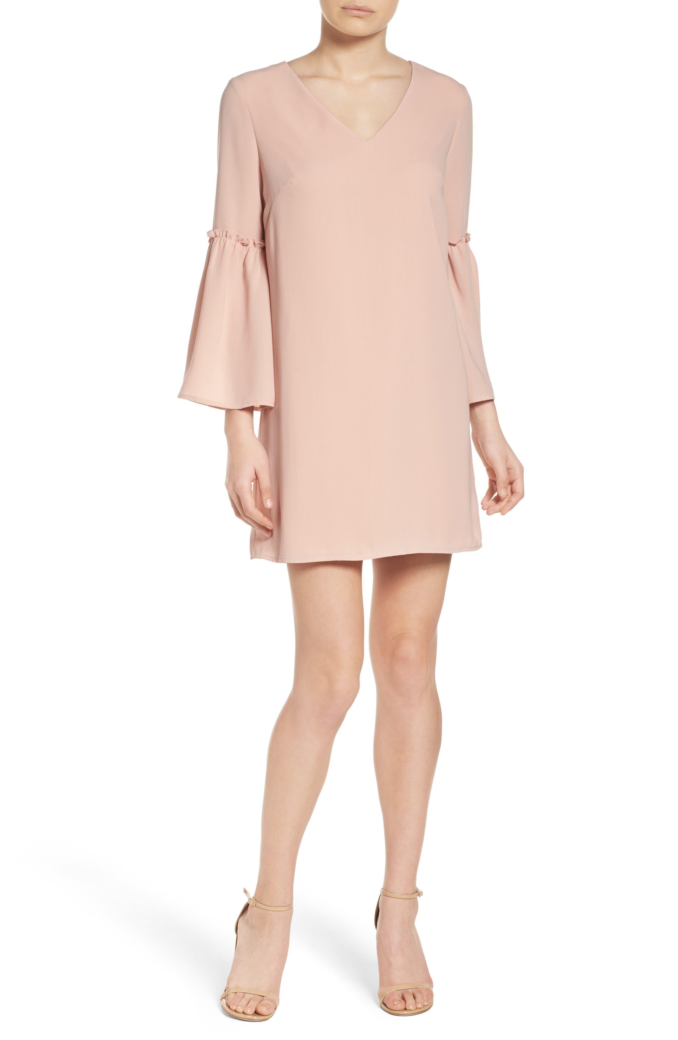 Ruffle Bell Sleeve Dress,                             Alternate thumbnail 4, color,                             Pink Dust