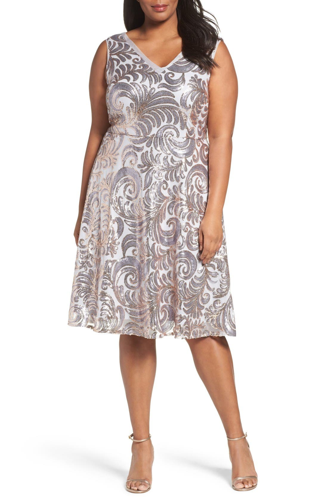 Brianna Sequin Fit & Flare Dress (Plus Size)