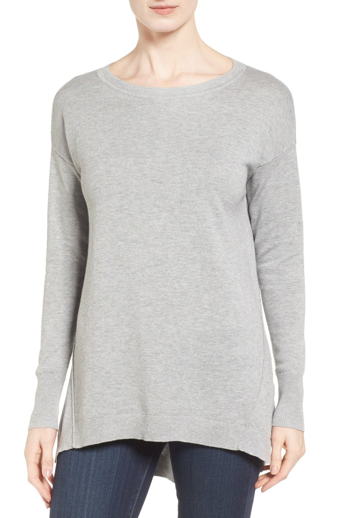 CASLON<SUP>®</SUP> Zip Back High/Low Tunic Sweater