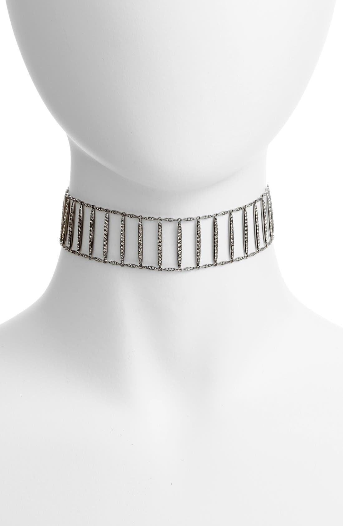 Kate Pavé Bar Choker,                             Main thumbnail 1, color,                             Black