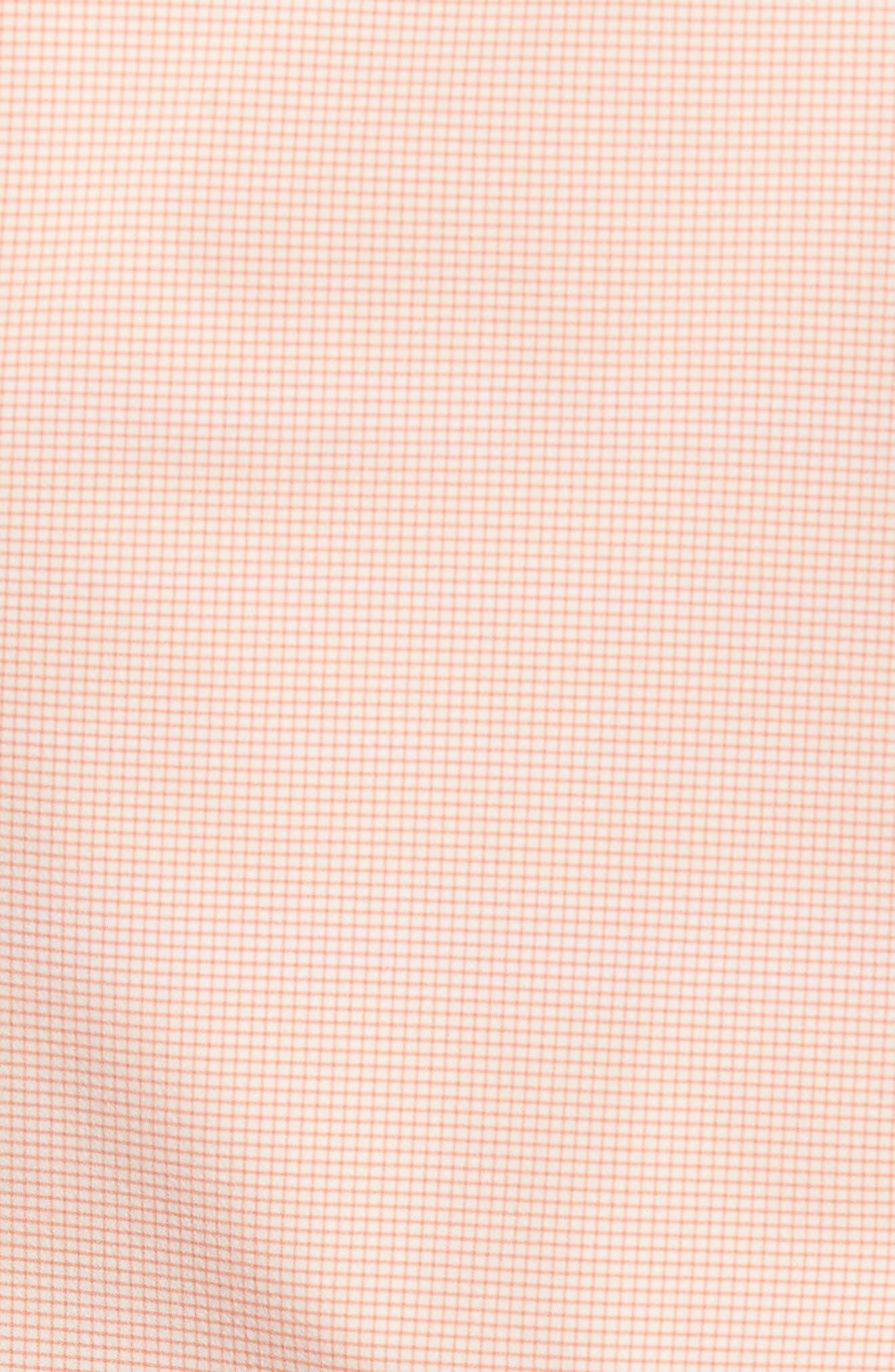 Charles Microcheck Performance Sport Shirt,                             Alternate thumbnail 5, color,                             Peach