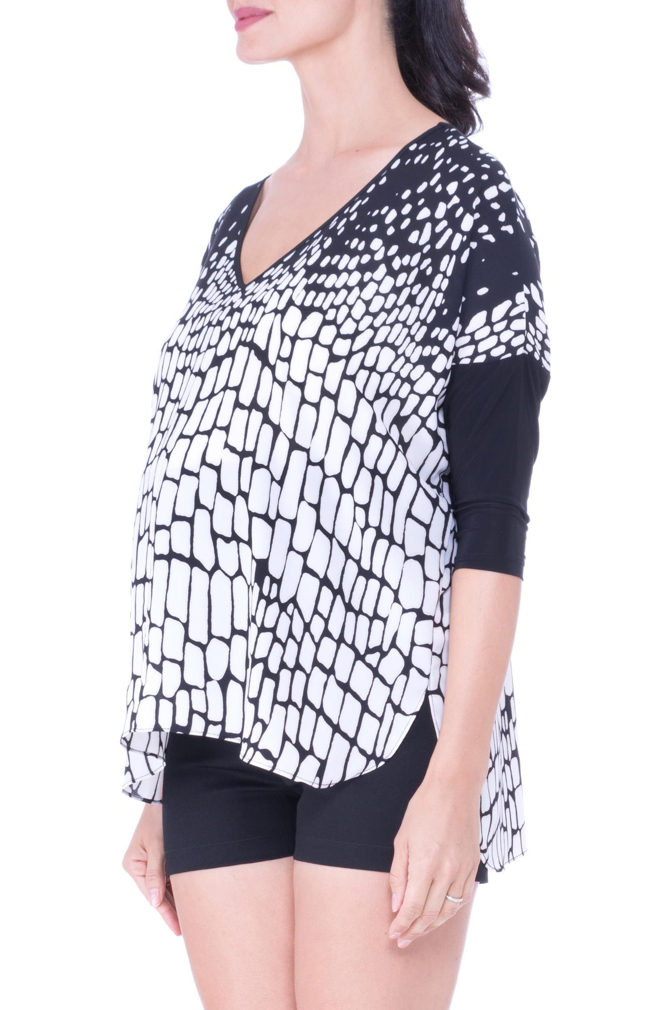 V-Neck Drop Sleeve Patterned Maternity Top,                             Alternate thumbnail 3, color,                             Black/ White