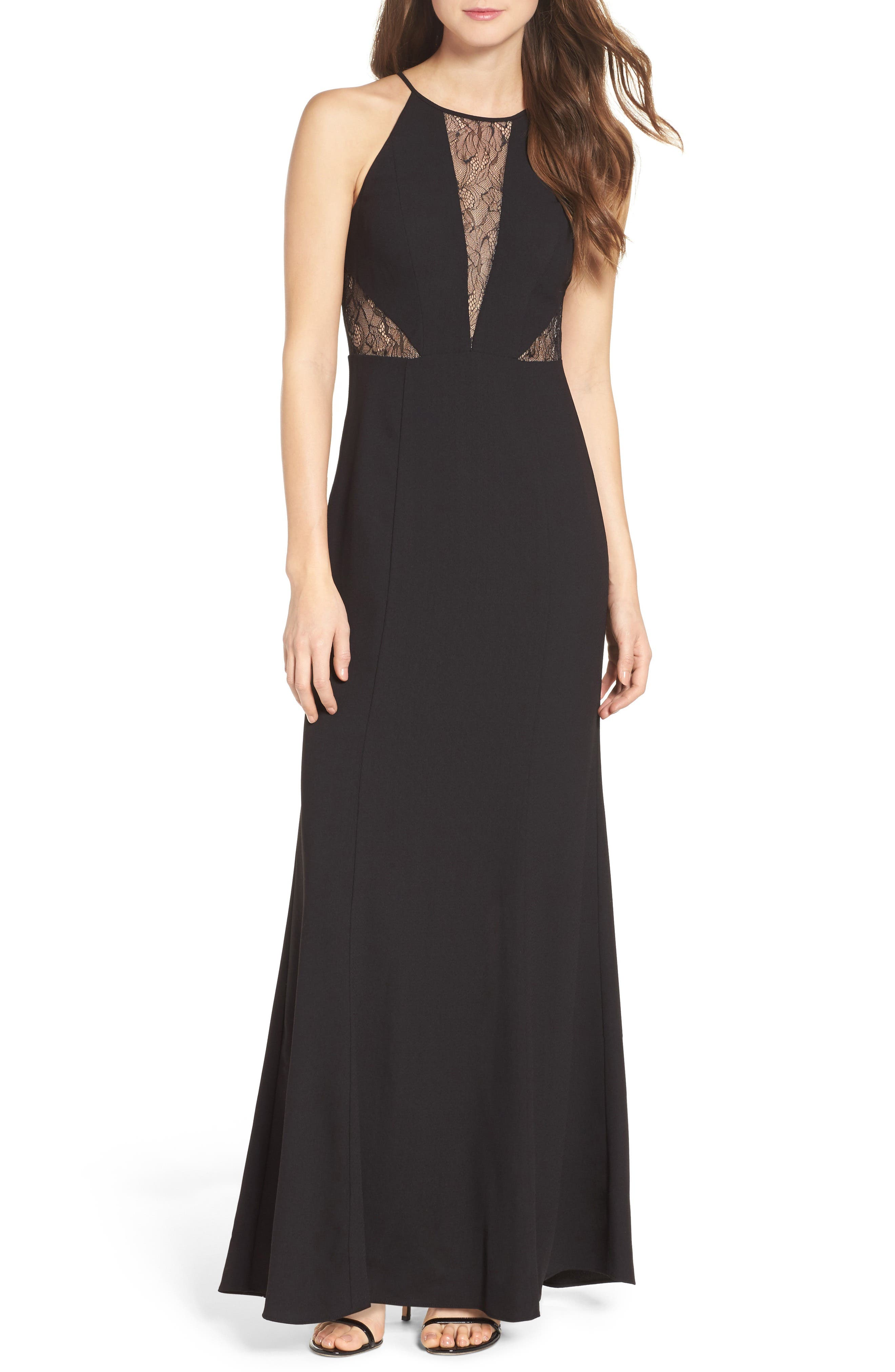 Main Image - Aidan by Aidan Mattox Crepe & Lace Halter Style Gown