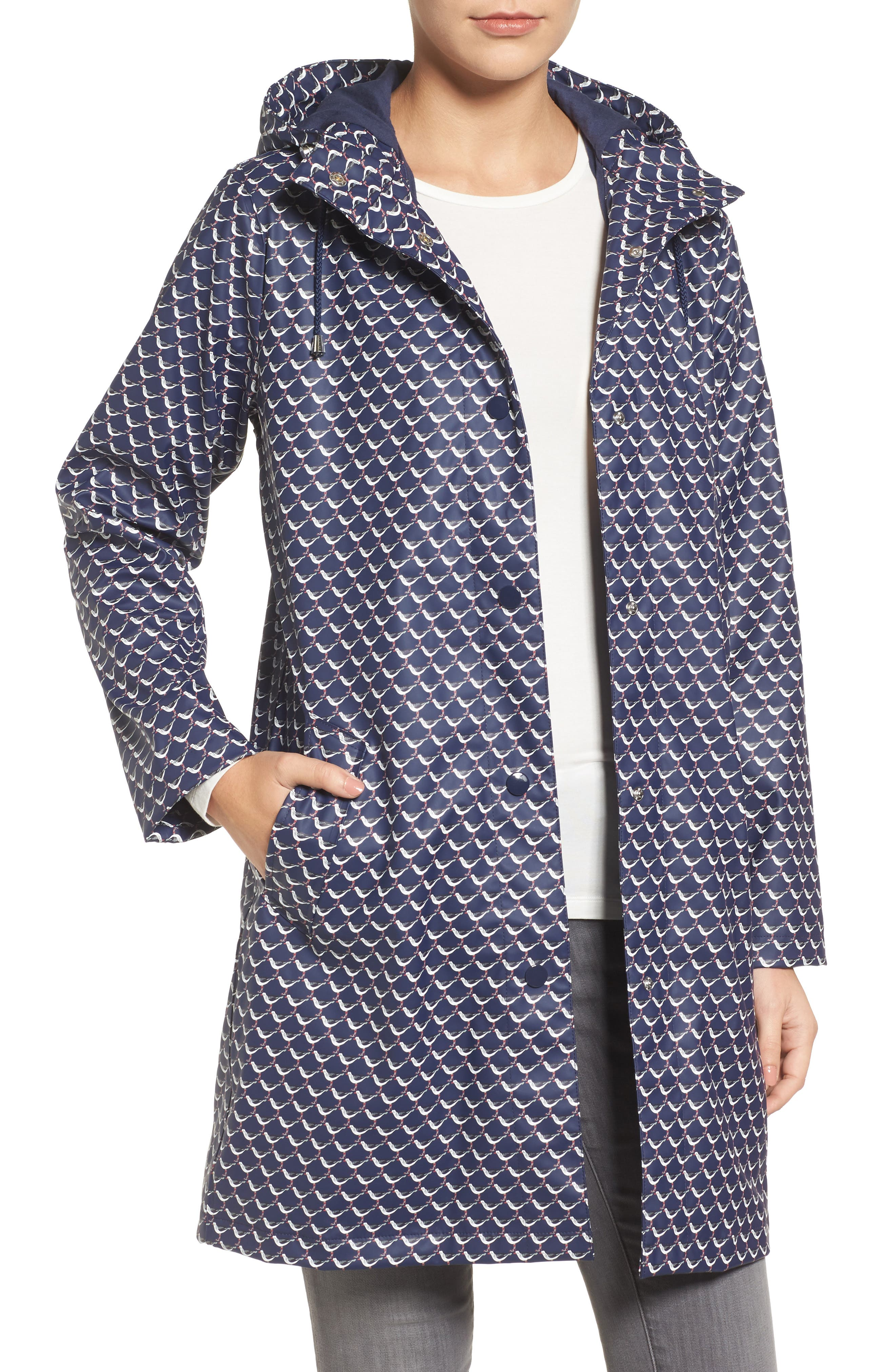 Right as Rain Longline Waterproof Hooded Coat,                         Main,                         color, French Navy Oyster Catcher