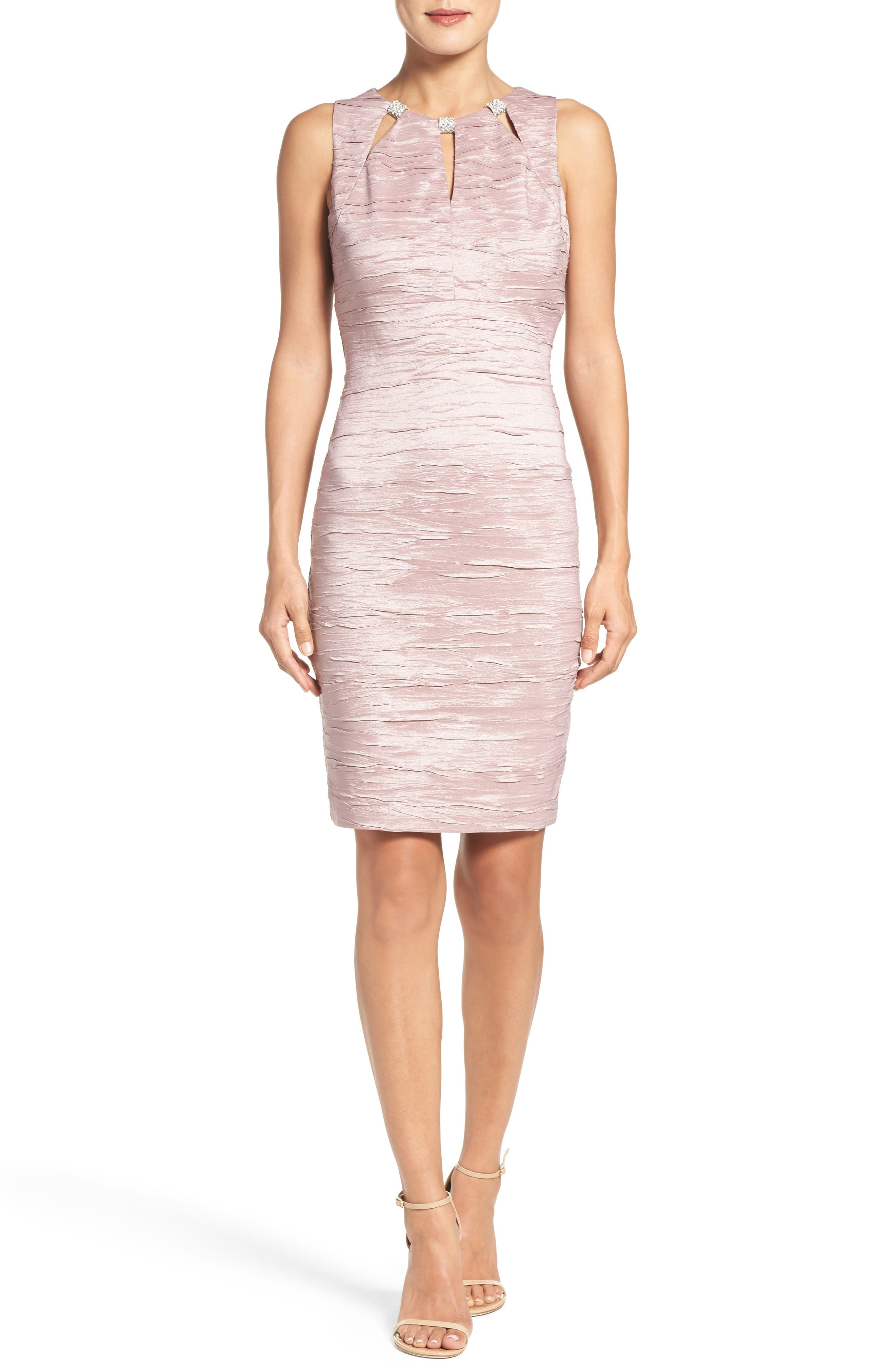 Embellished Cutout Taffeta Sheath Dress,                             Alternate thumbnail 2, color,                             Mauve