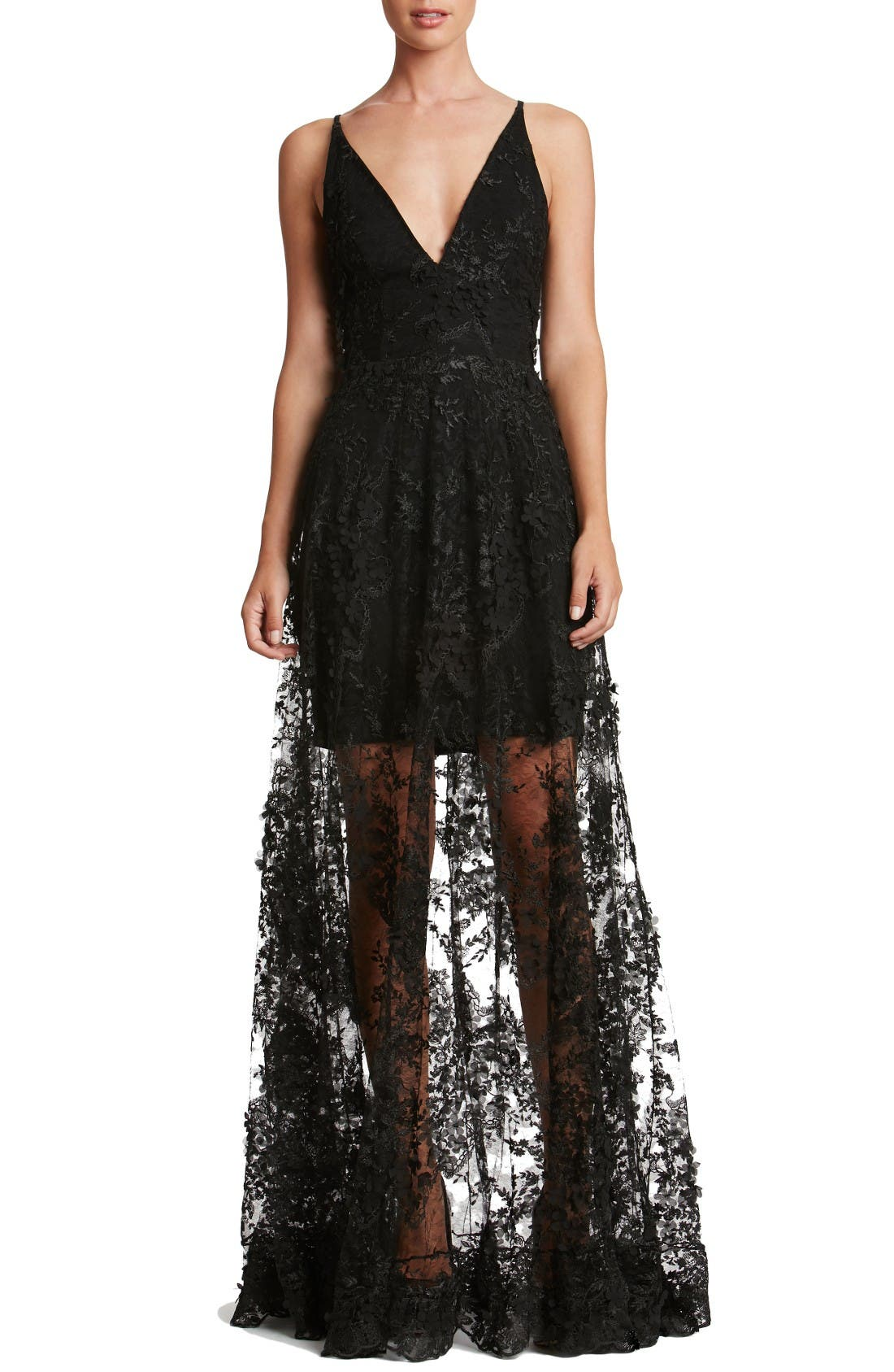 Sidney Lace Gown,                         Main,                         color, Black/ Black