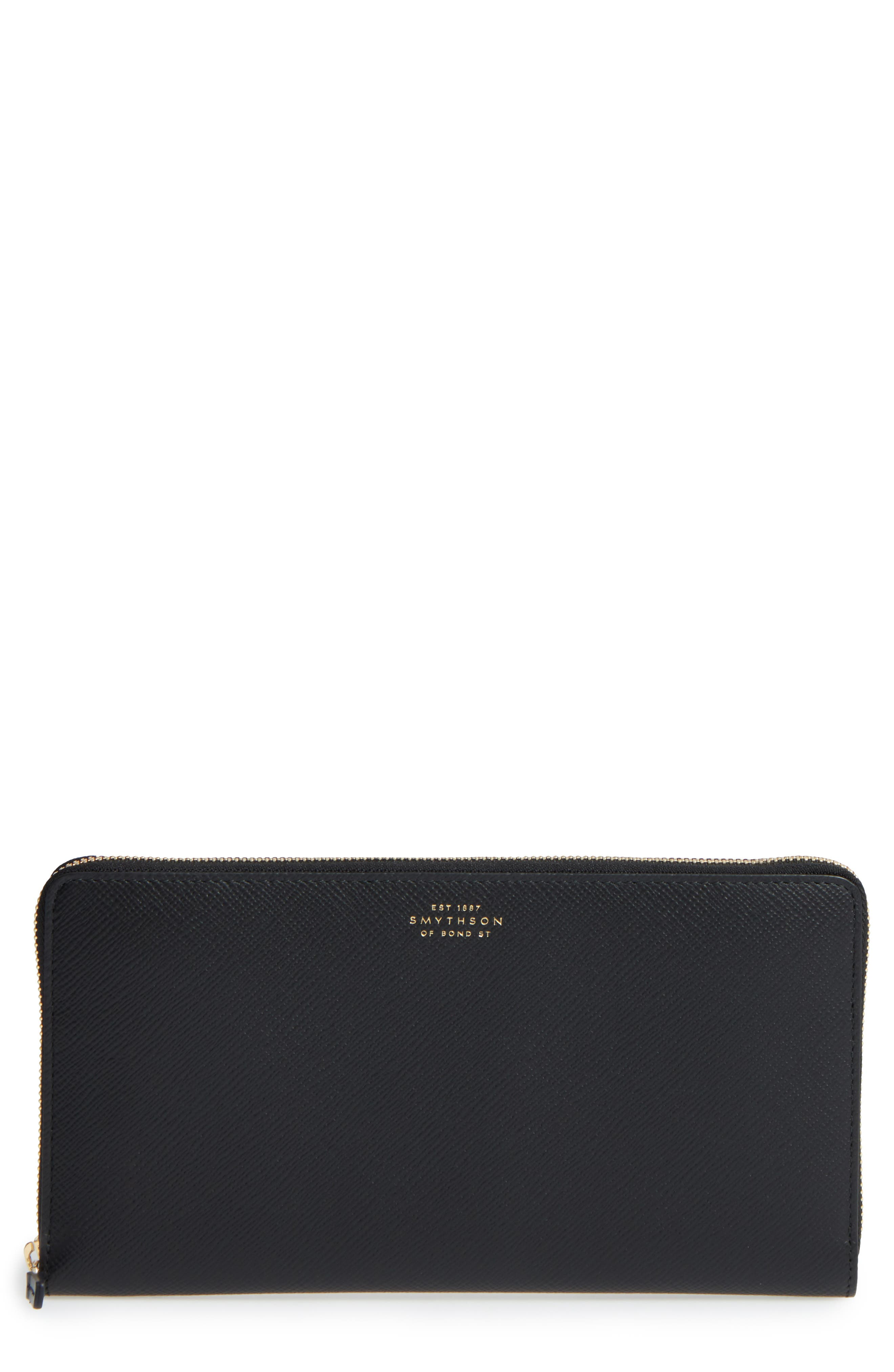 Smythson Panama Calfskin Leather Travel Wallet & Passport Case