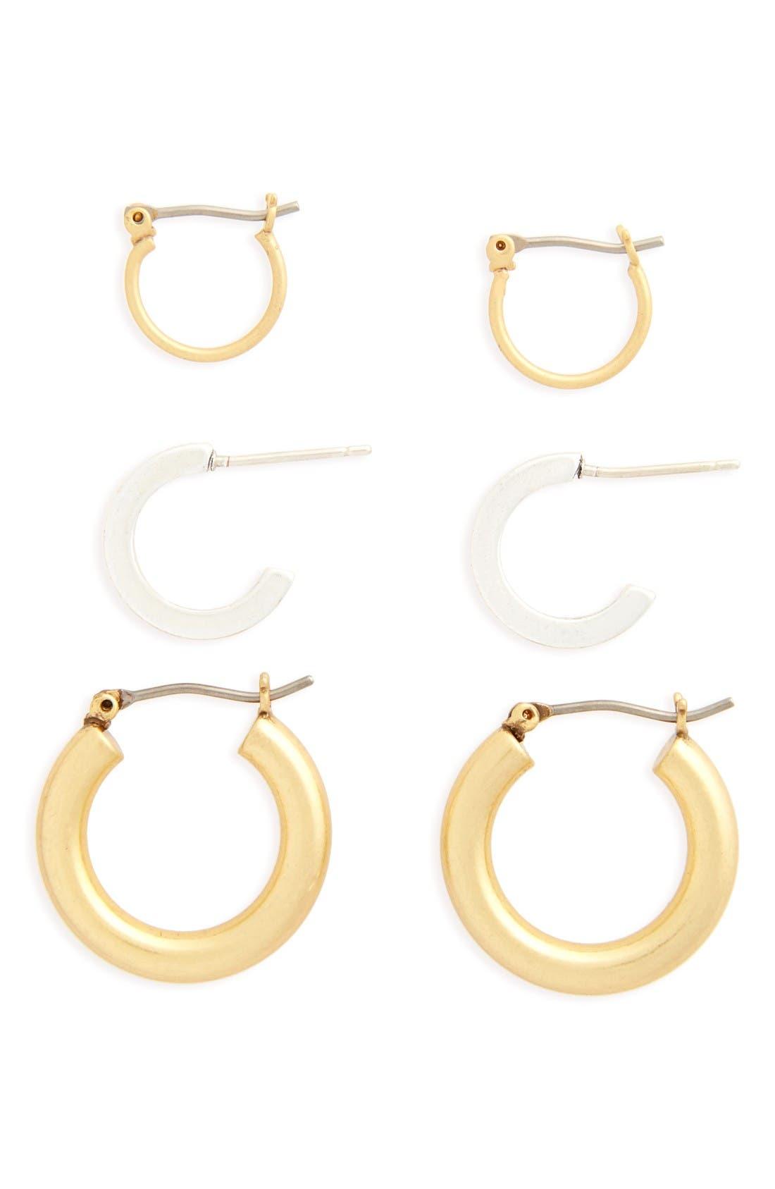 Set of 3 Mini Hoop Earrings,                         Main,                         color, Mixed Metal