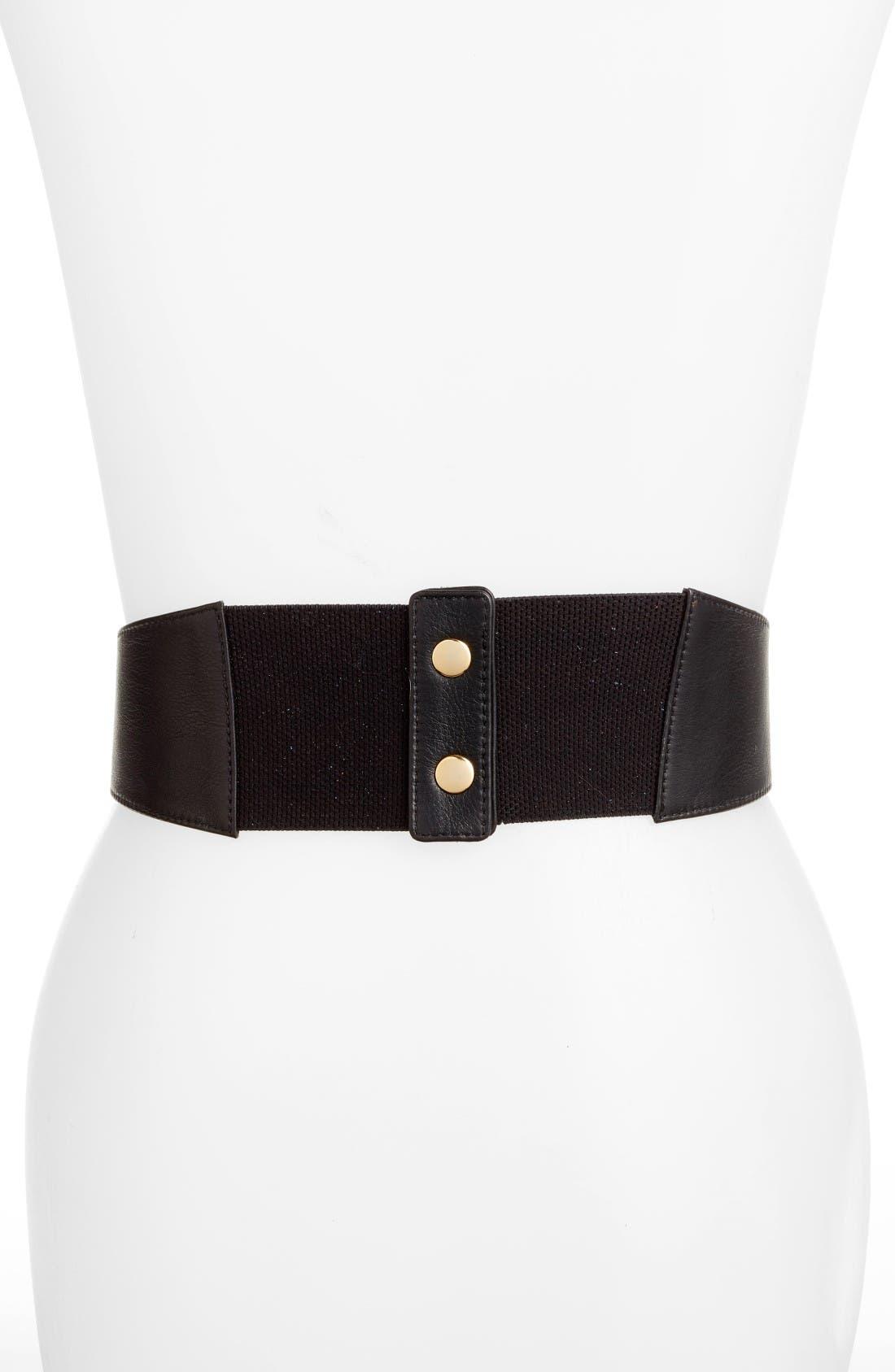 Leather Corset Belt,                             Alternate thumbnail 2, color,                             Black