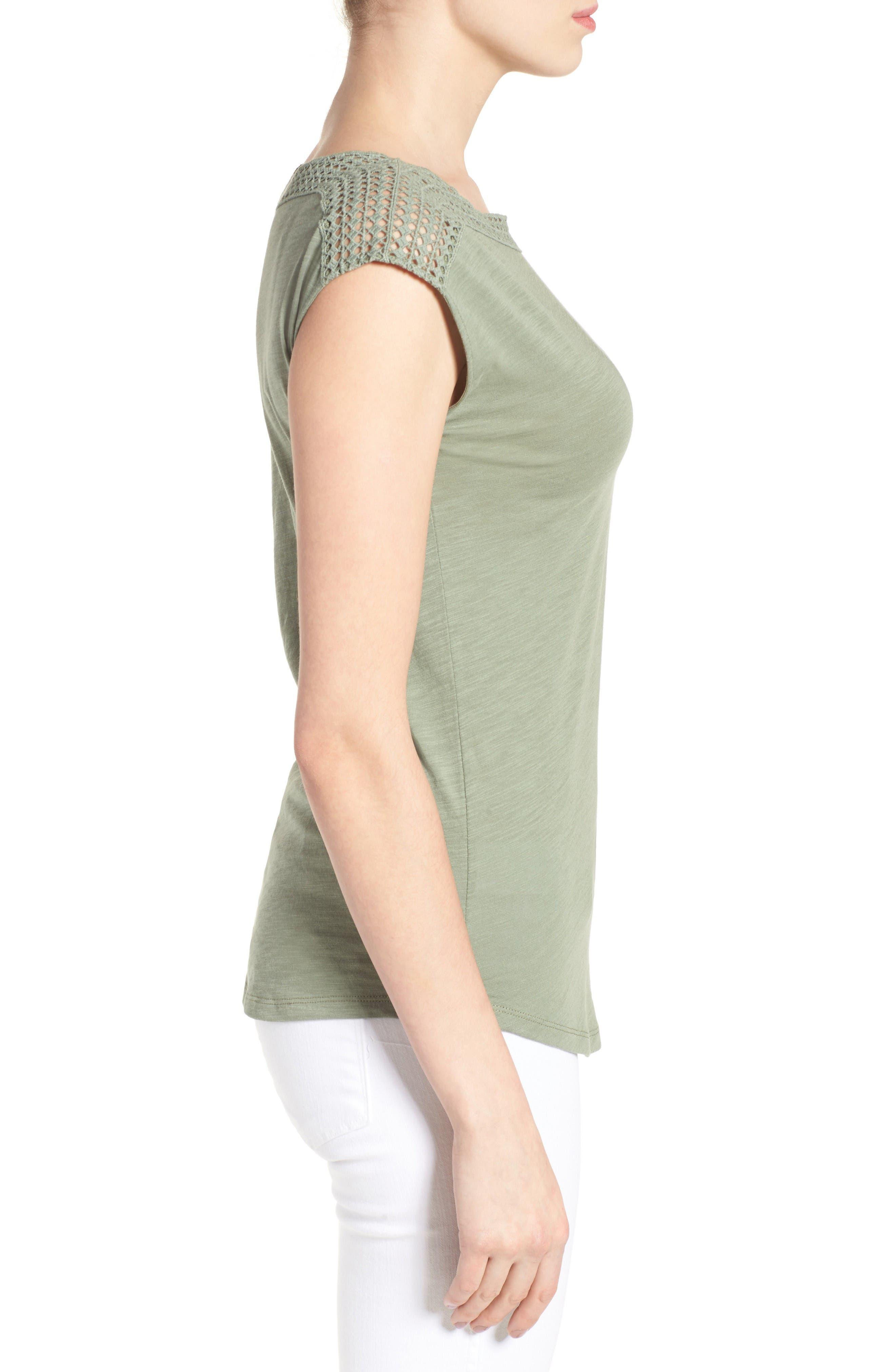 Alternate Image 3  - Caslon® Lace Shoulder Tee (Regular & Petite)