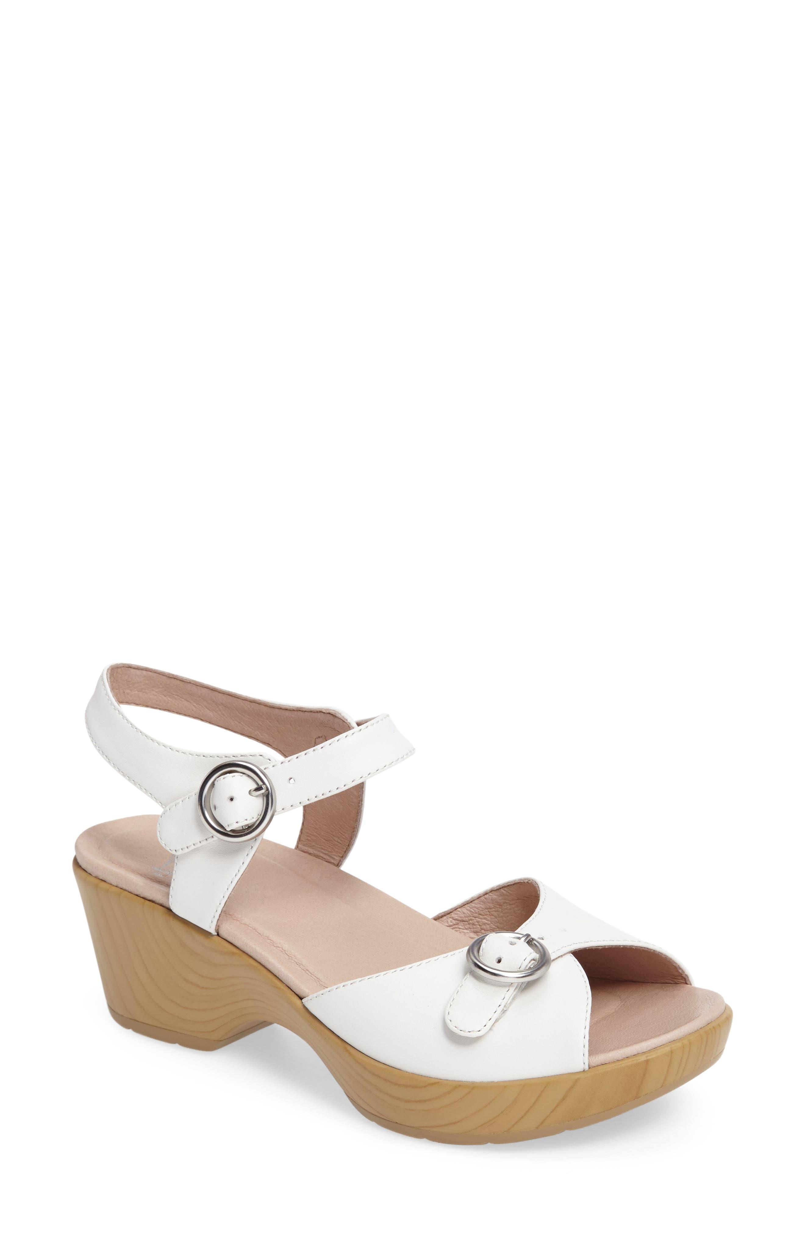 June Platform Sandal,                         Main,                         color, White Leather