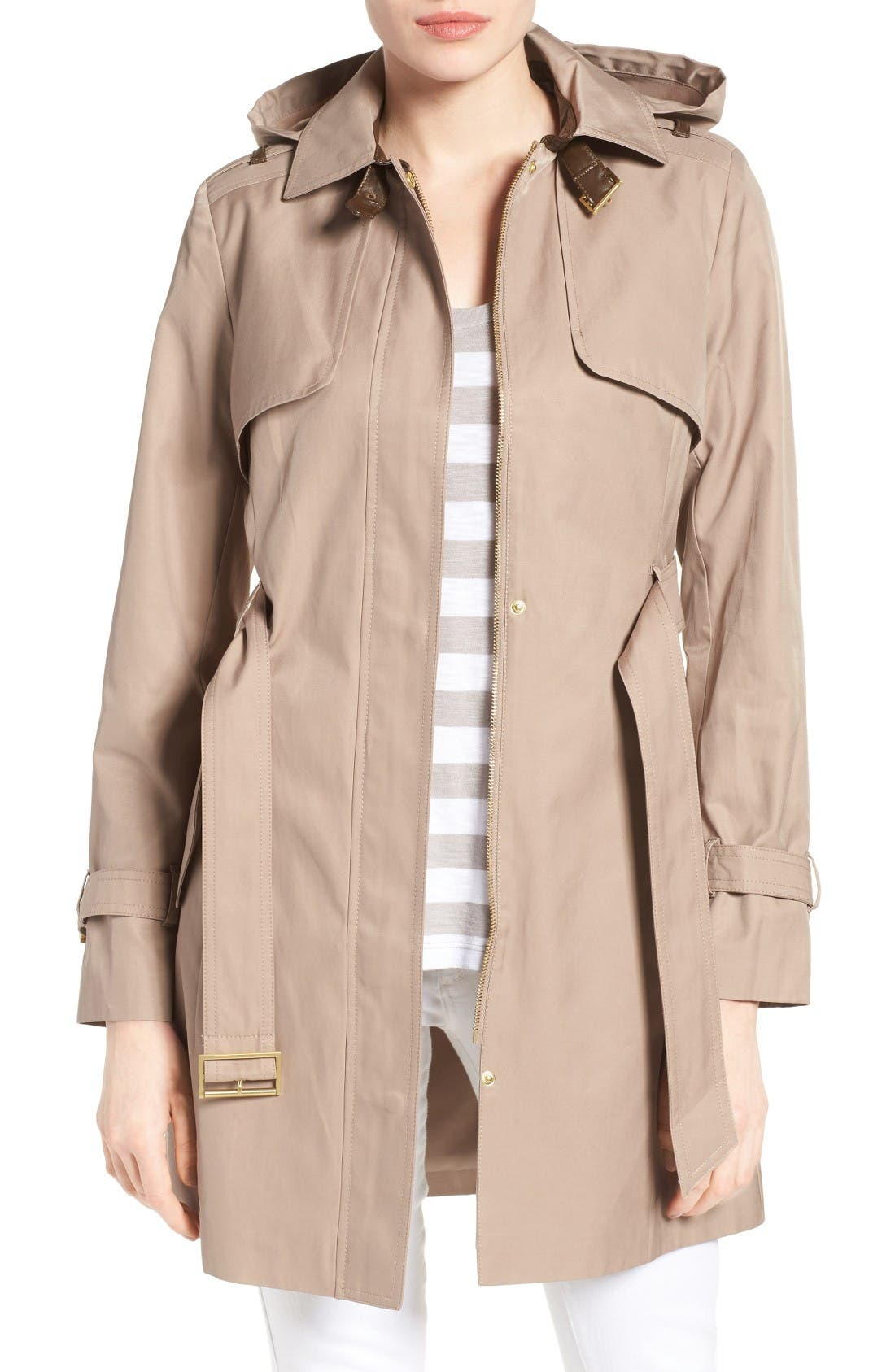 Alternate Image 4  - Cole Haan Signature Faux Leather Trim Trench Coat