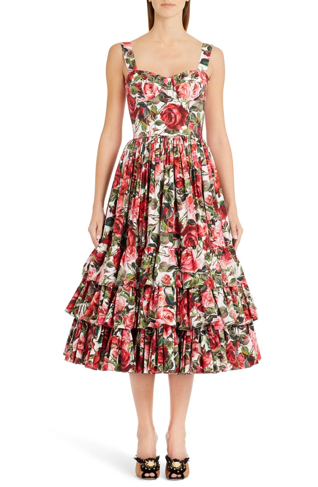 Alternate Image 1 Selected - Dolce&Gabbana Floral Print Poplin Dress