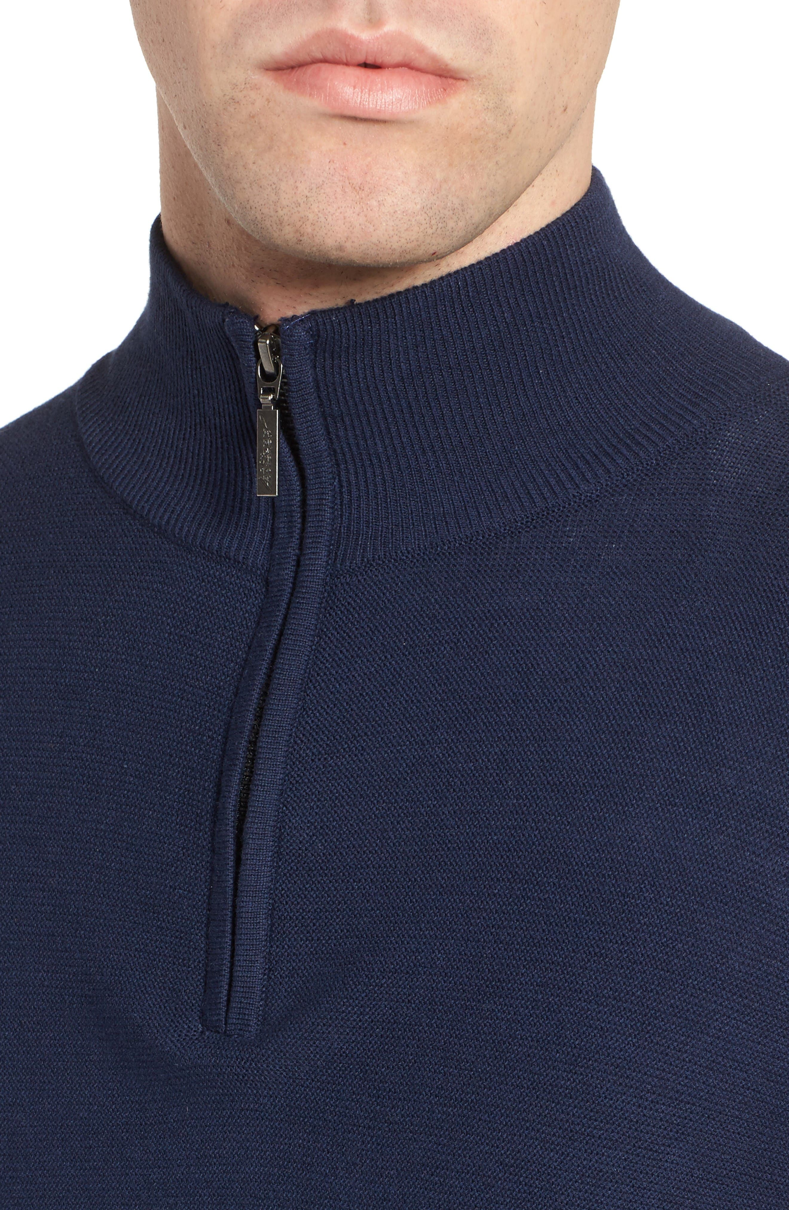 Quarter Zip Sweater,                             Alternate thumbnail 4, color,                             Navy