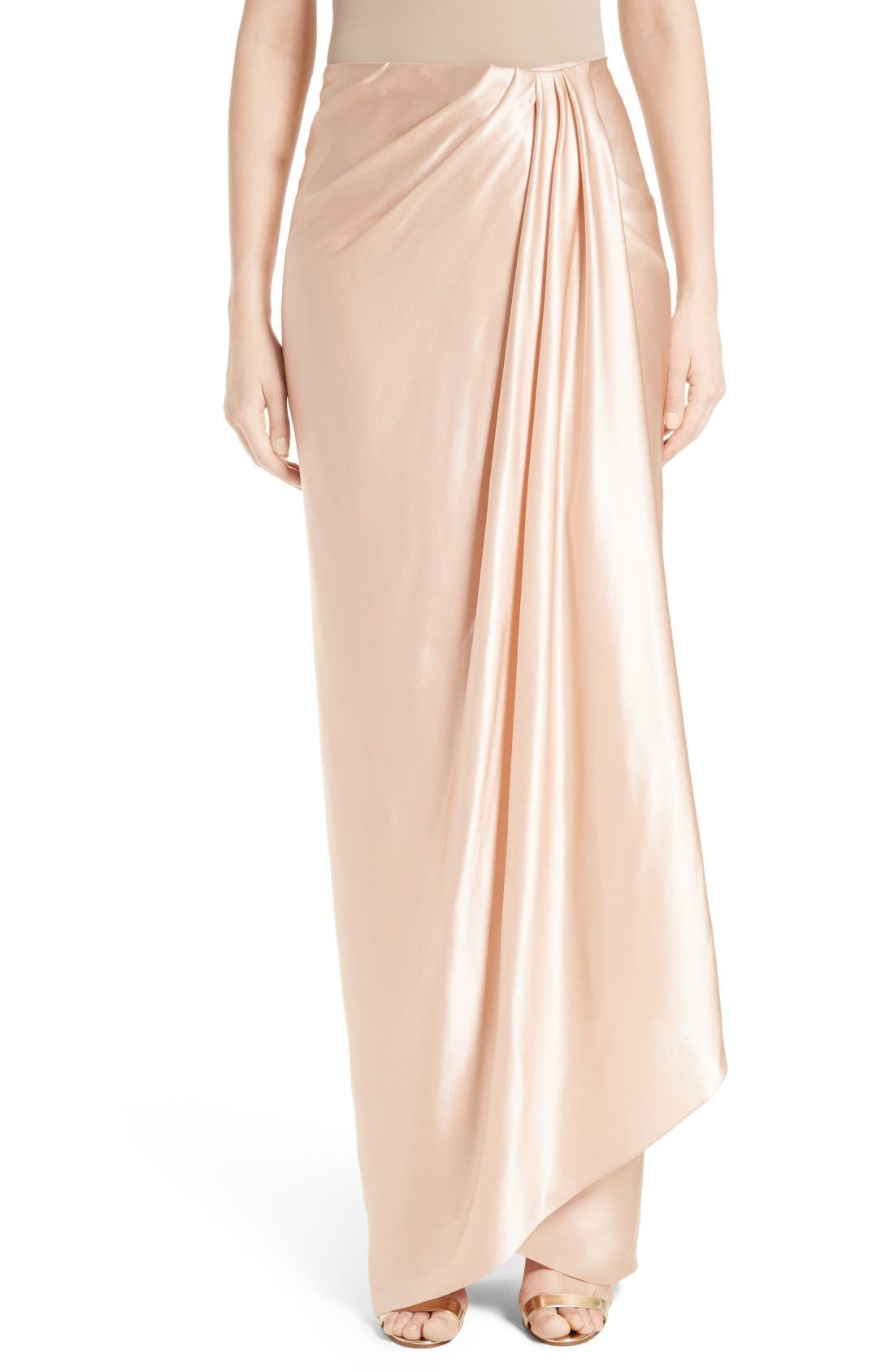 Marchesa Grecian Draped Satin Georgette Wrap Skirt