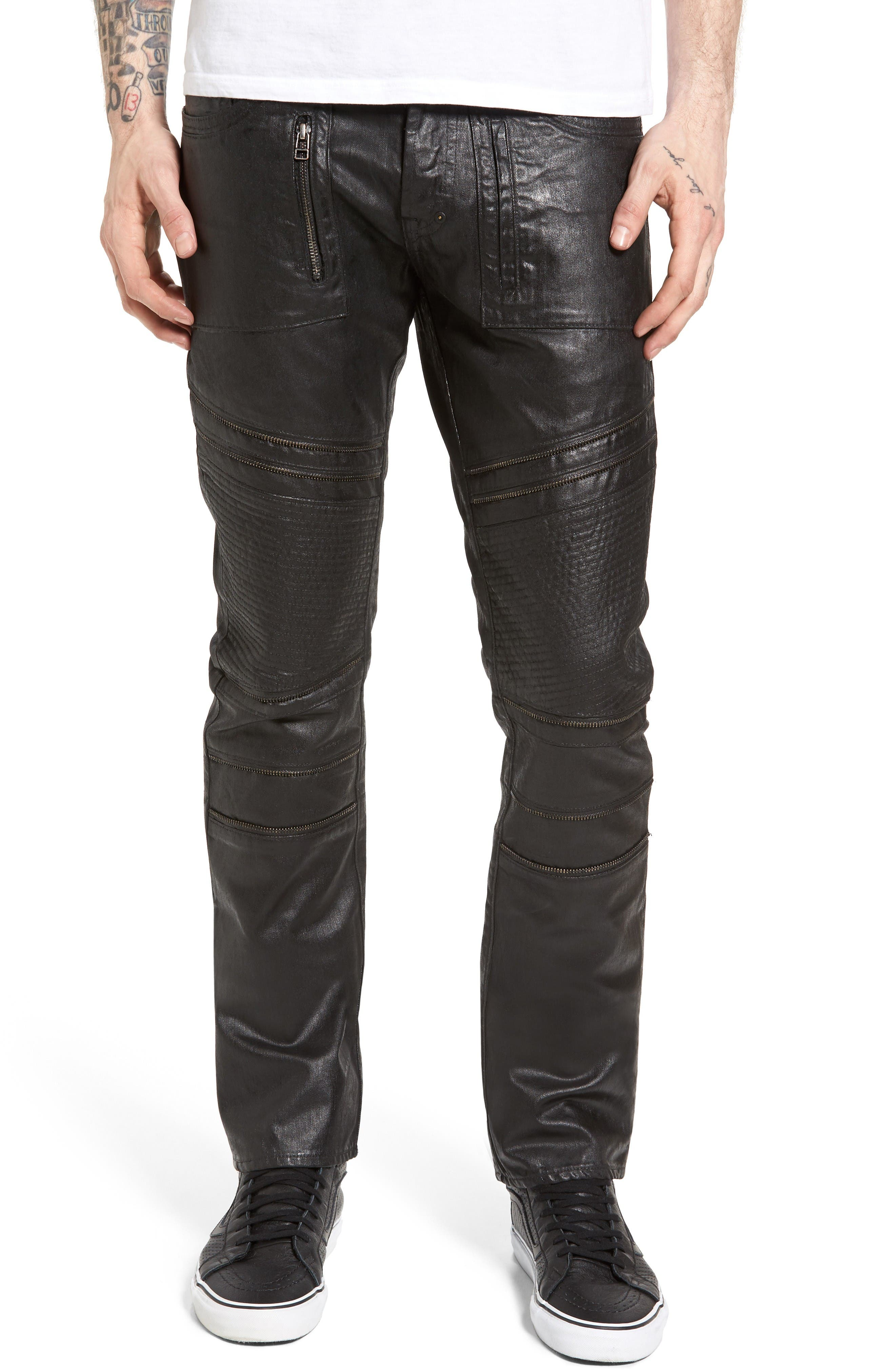 Demon Slim Straight Coated Jeans,                         Main,                         color, Black