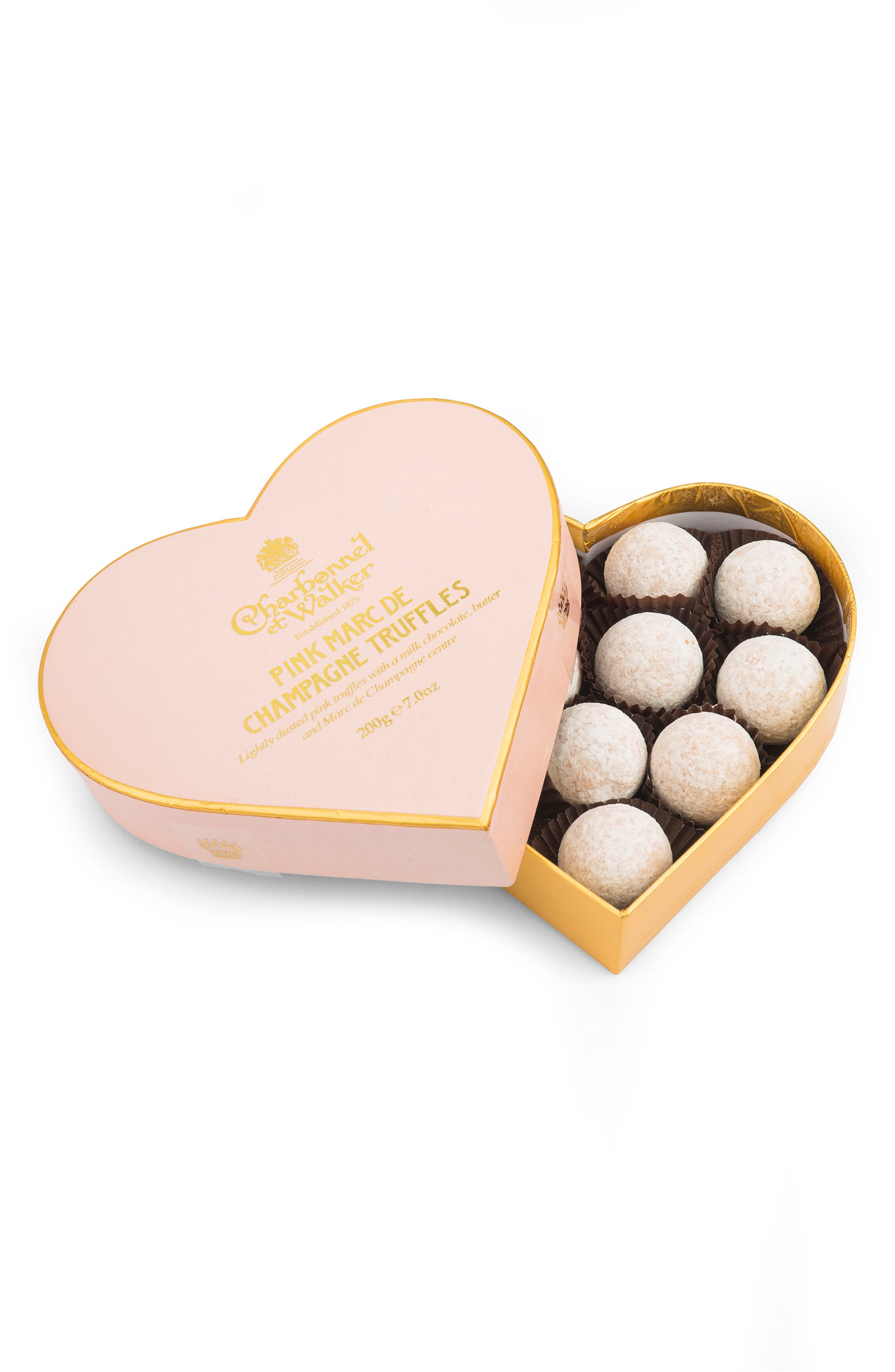 Chocolate Truffles in Heart Shaped Gift Box,                         Main,                         color, Pink Champagne