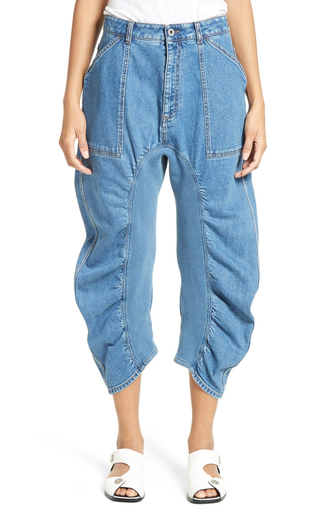 Xenia Ruched Crop Jeans,                         Main,                         color, Blue