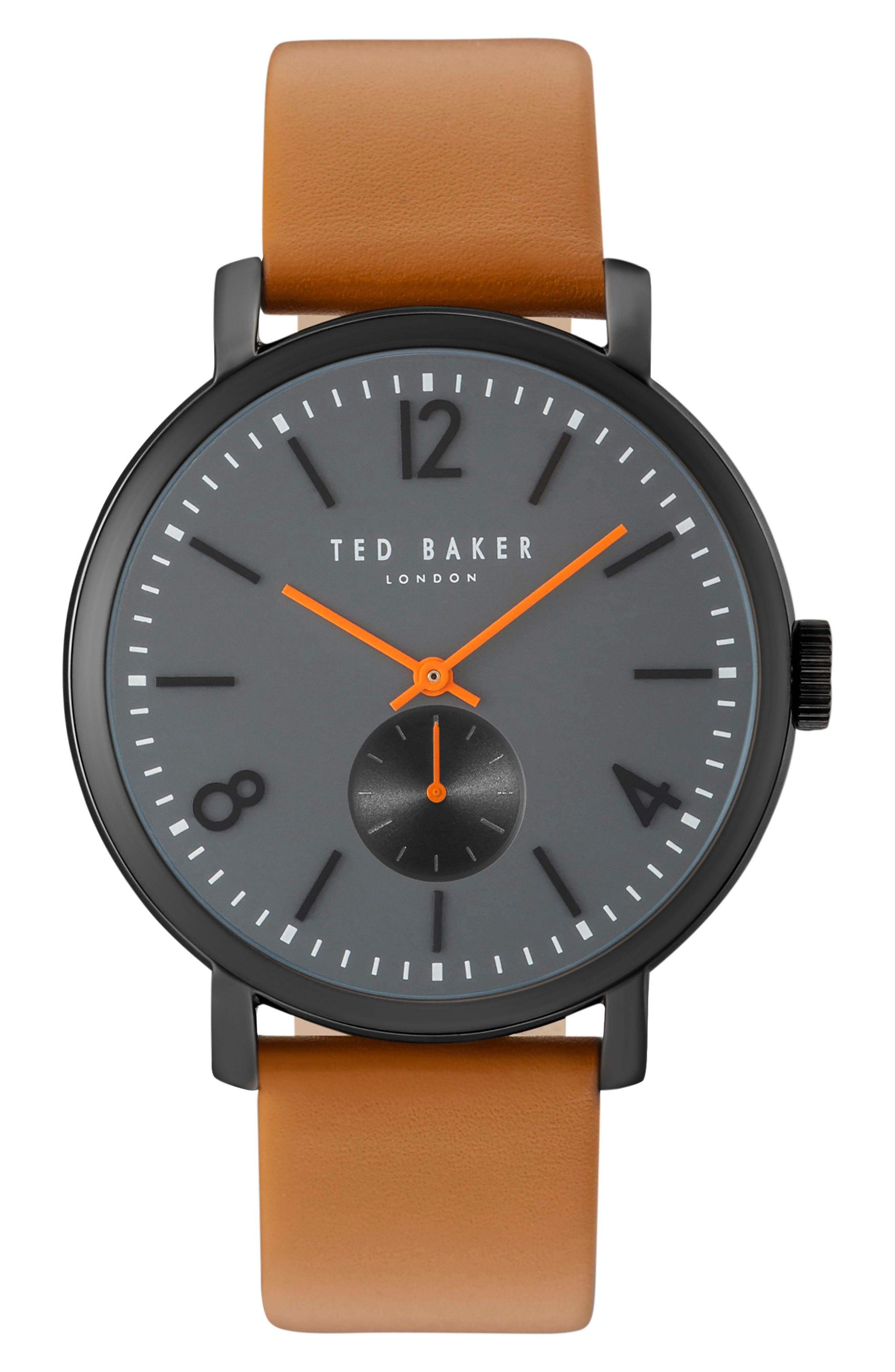 Oliver Leather Strap Watch, 42mm,                         Main,                         color, Grey/ Tan