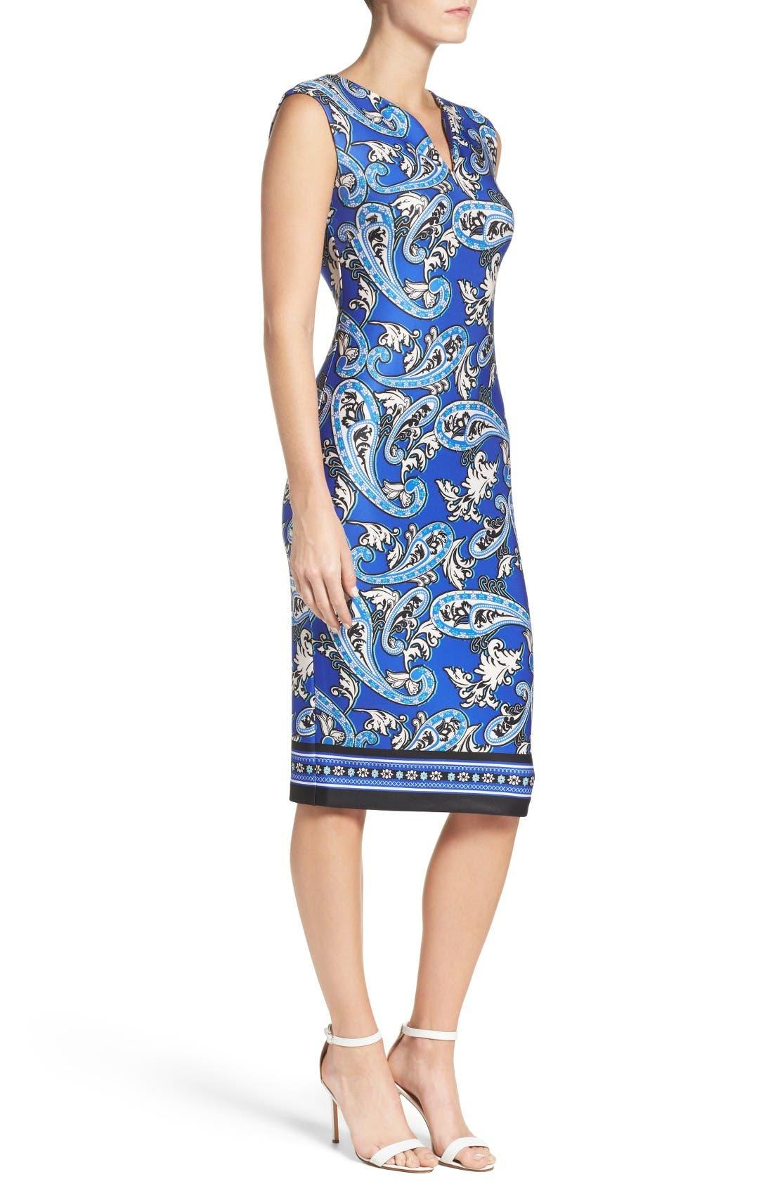 Paisley Scuba Sheath Dress,                             Alternate thumbnail 3, color,                             Blue