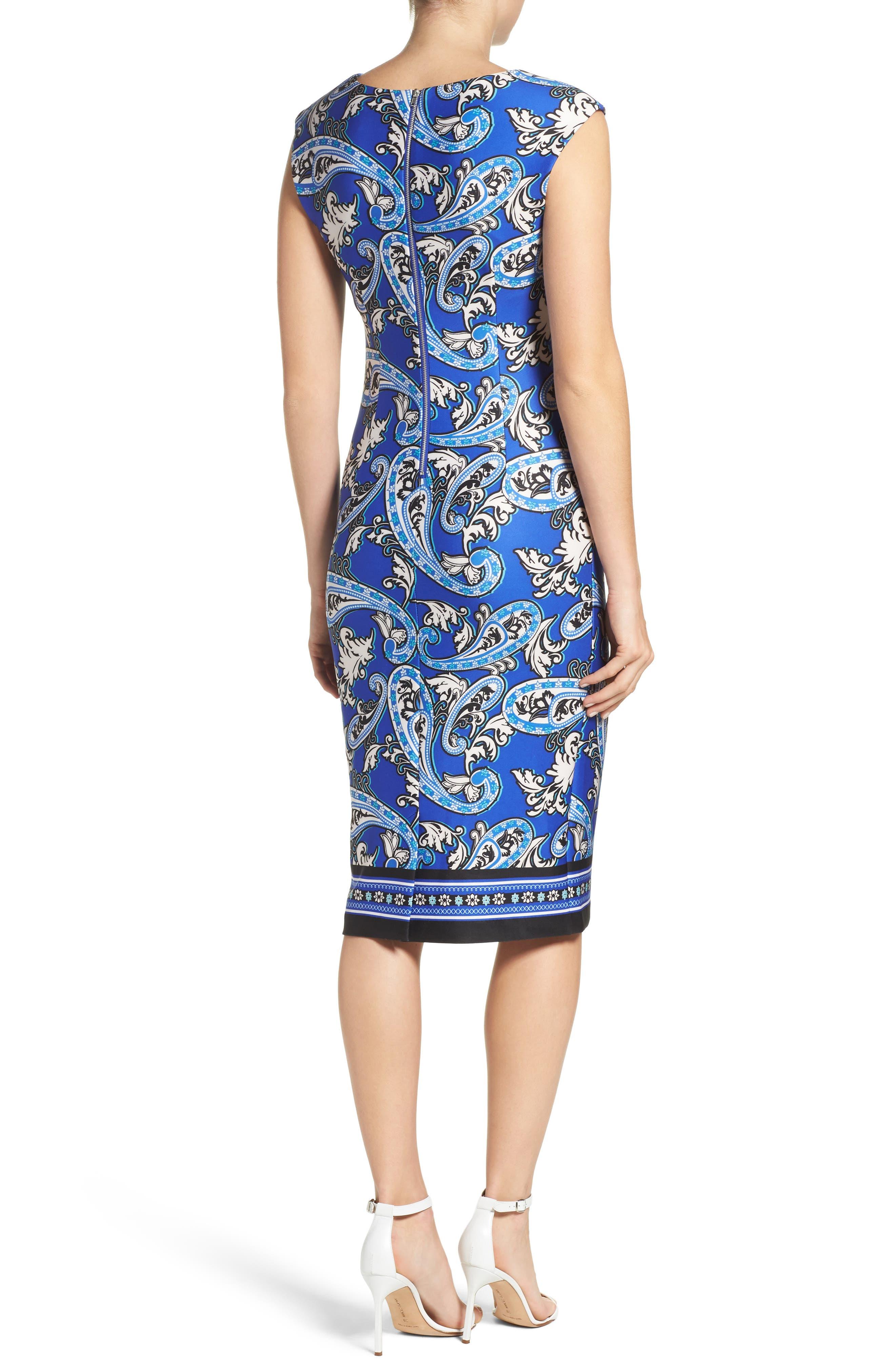 Paisley Scuba Sheath Dress,                             Alternate thumbnail 2, color,                             Blue