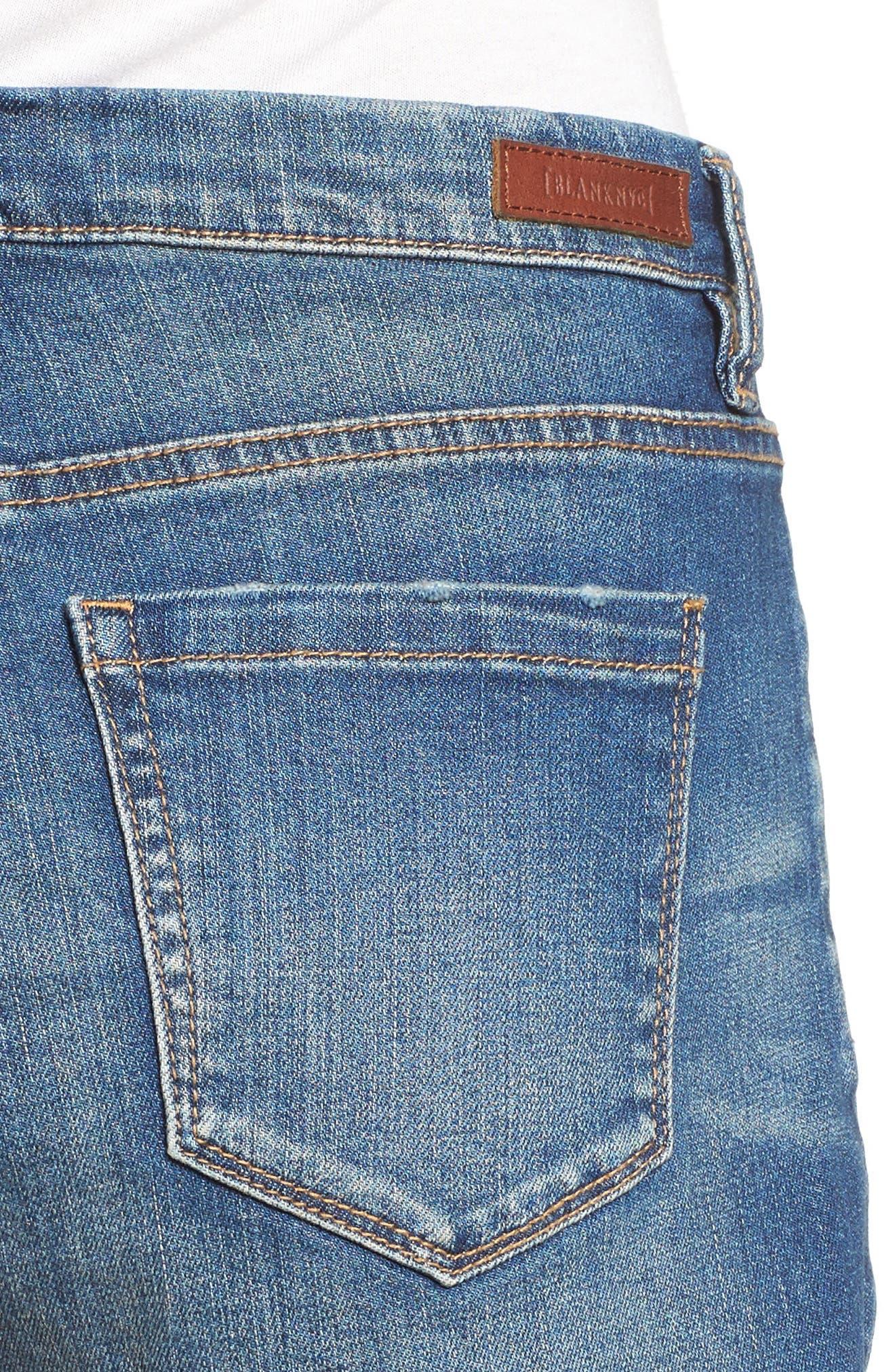 High Rise Cutoff Denim Shorts,                             Alternate thumbnail 4, color,                             Blue