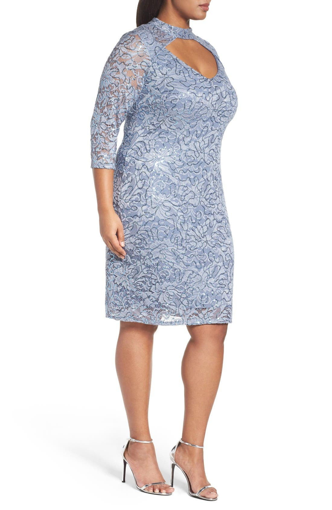 Alternate Image 3  - Marina Cutout Sequin Lace Sheath Dress (Plus Size)