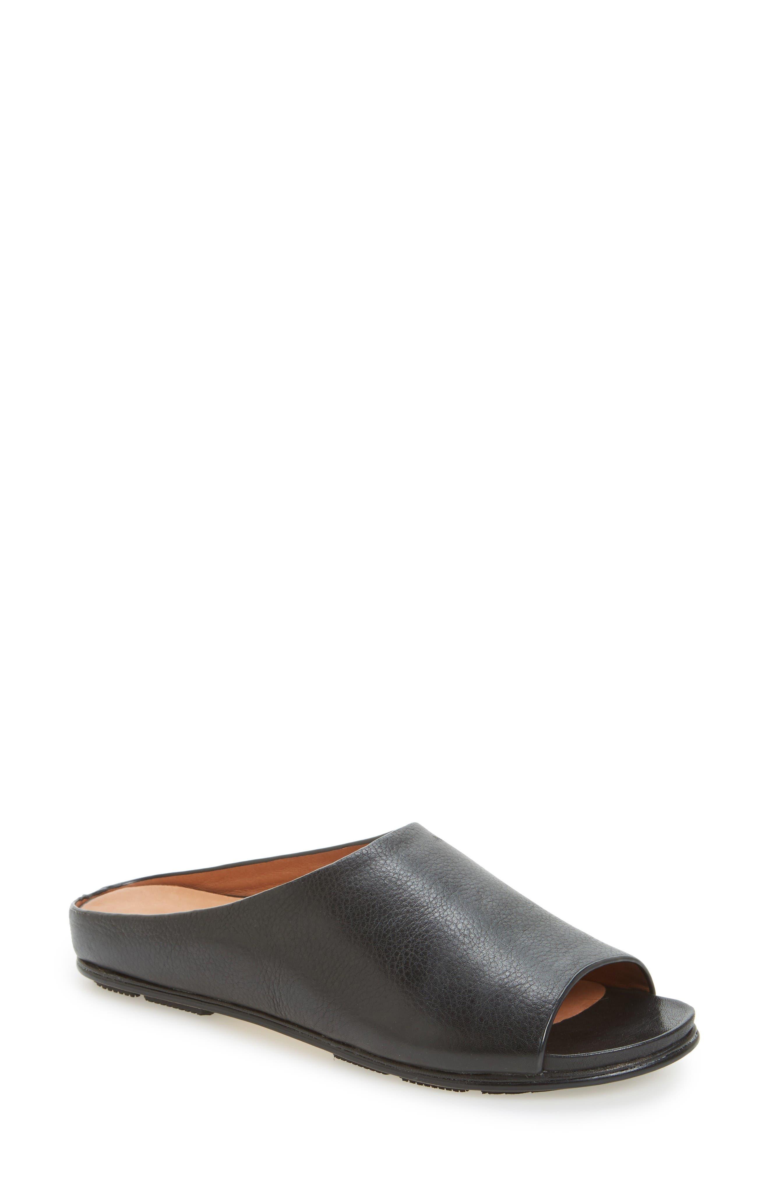 Dijone Mule,                         Main,                         color, Black Leather