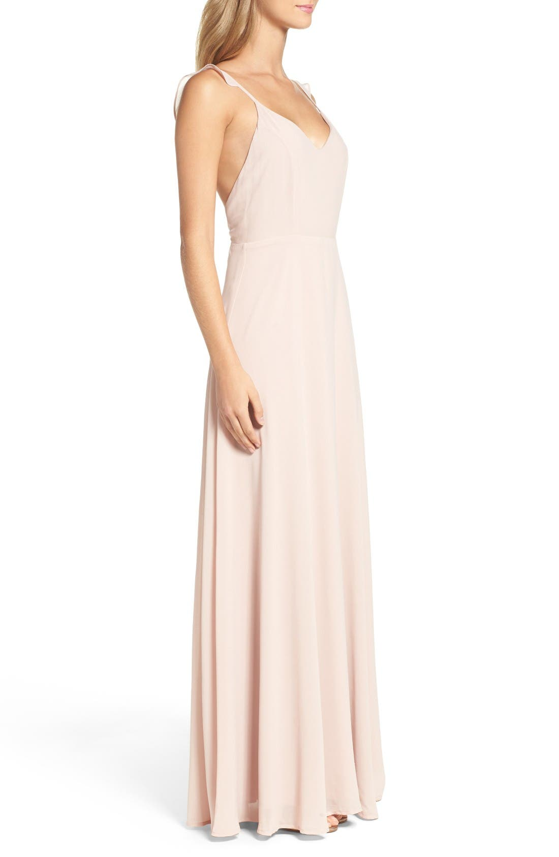 Alternate Image 3  - Lulus Flutter Strap A-Line Chiffon Gown