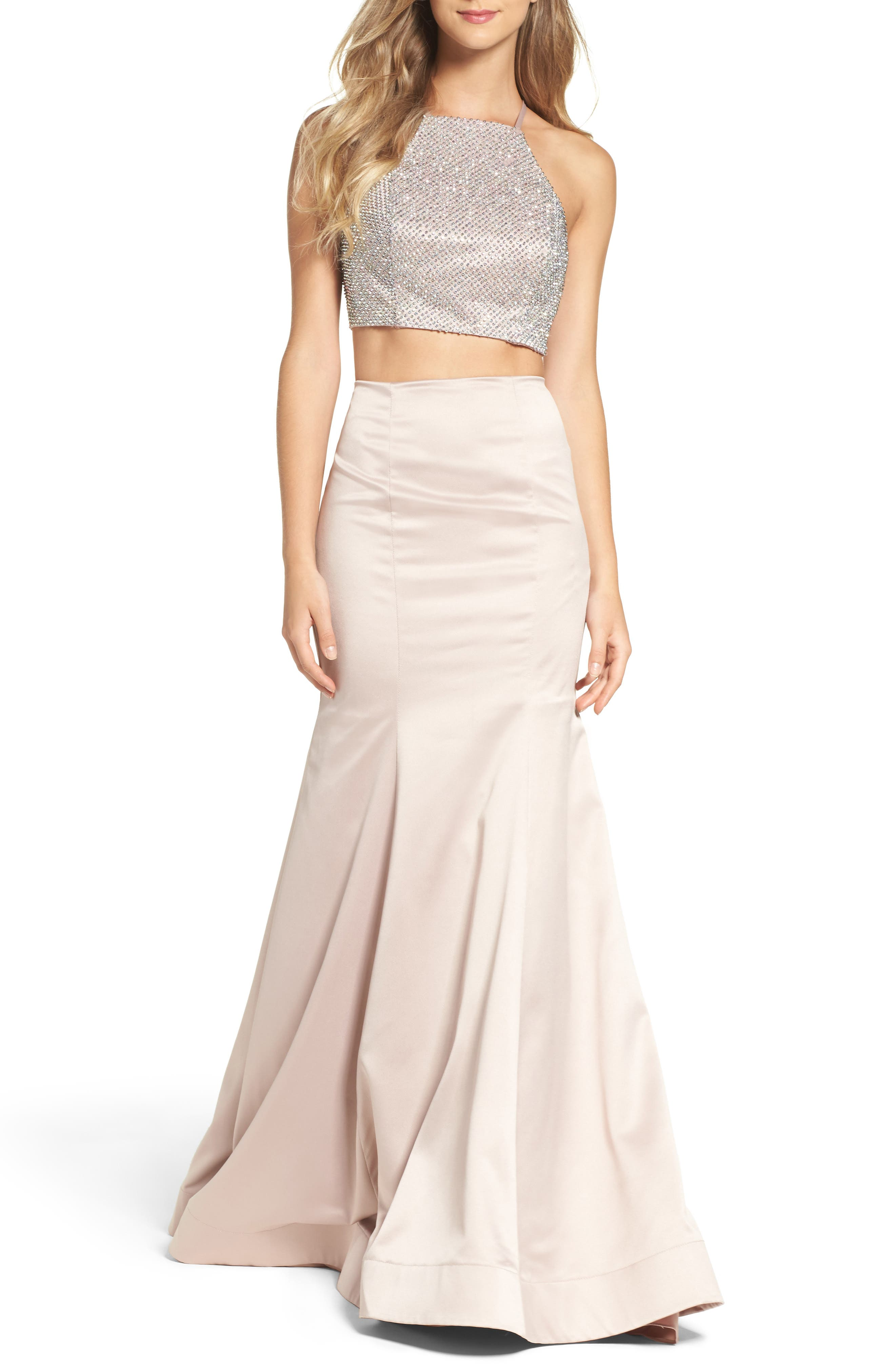 Alternate Image 1 Selected - La Femme Beaded Two-Piece Mermaid Gown