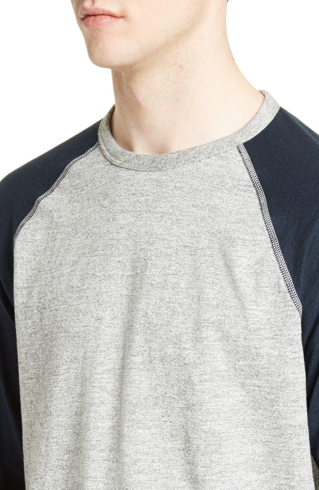 Colorblock Raglan Sleeve Sweatshirt,                             Alternate thumbnail 4, color,                             Grey