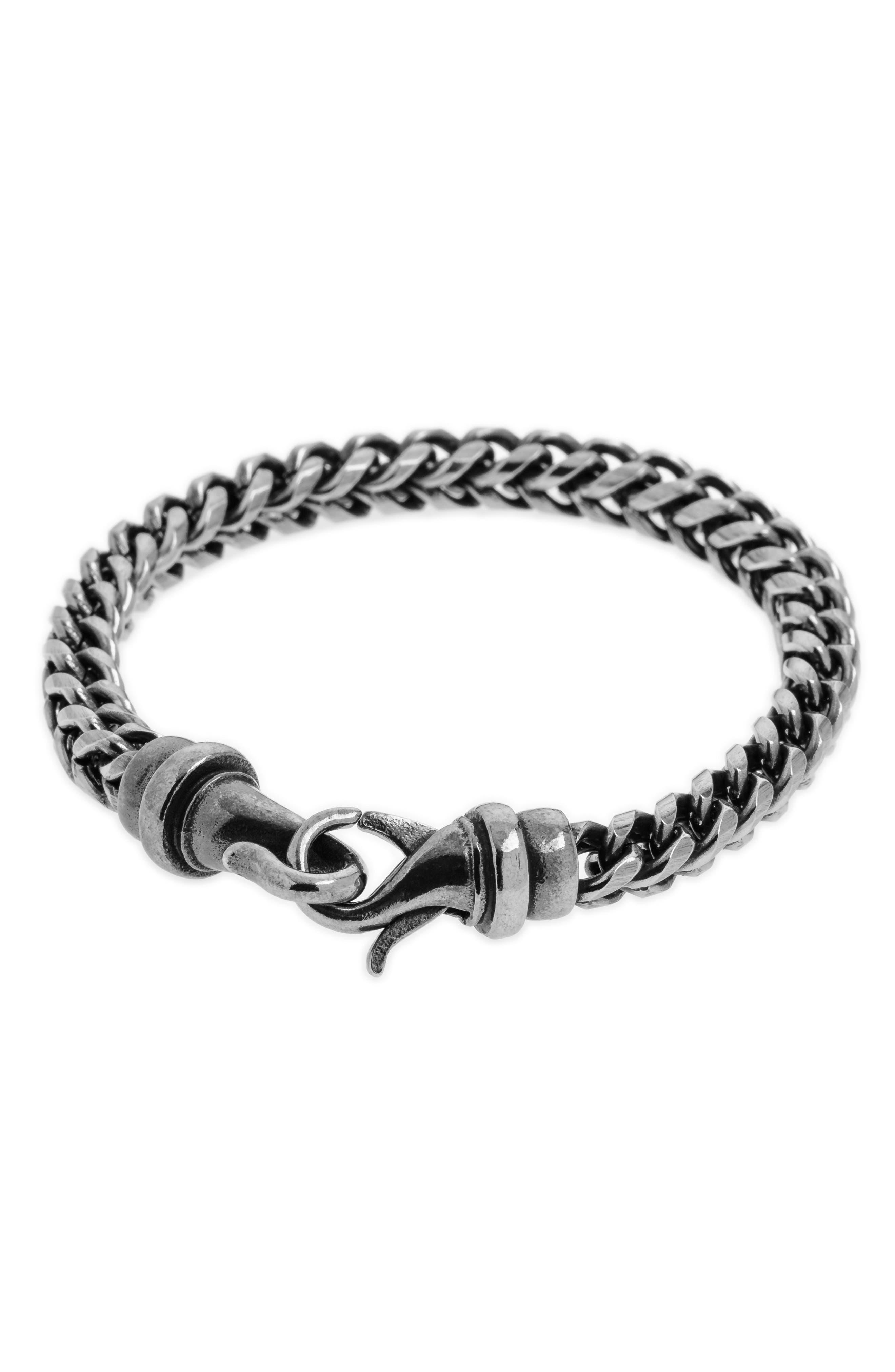 Kusari Chain Bracelet,                         Main,                         color, Antiqued Steel