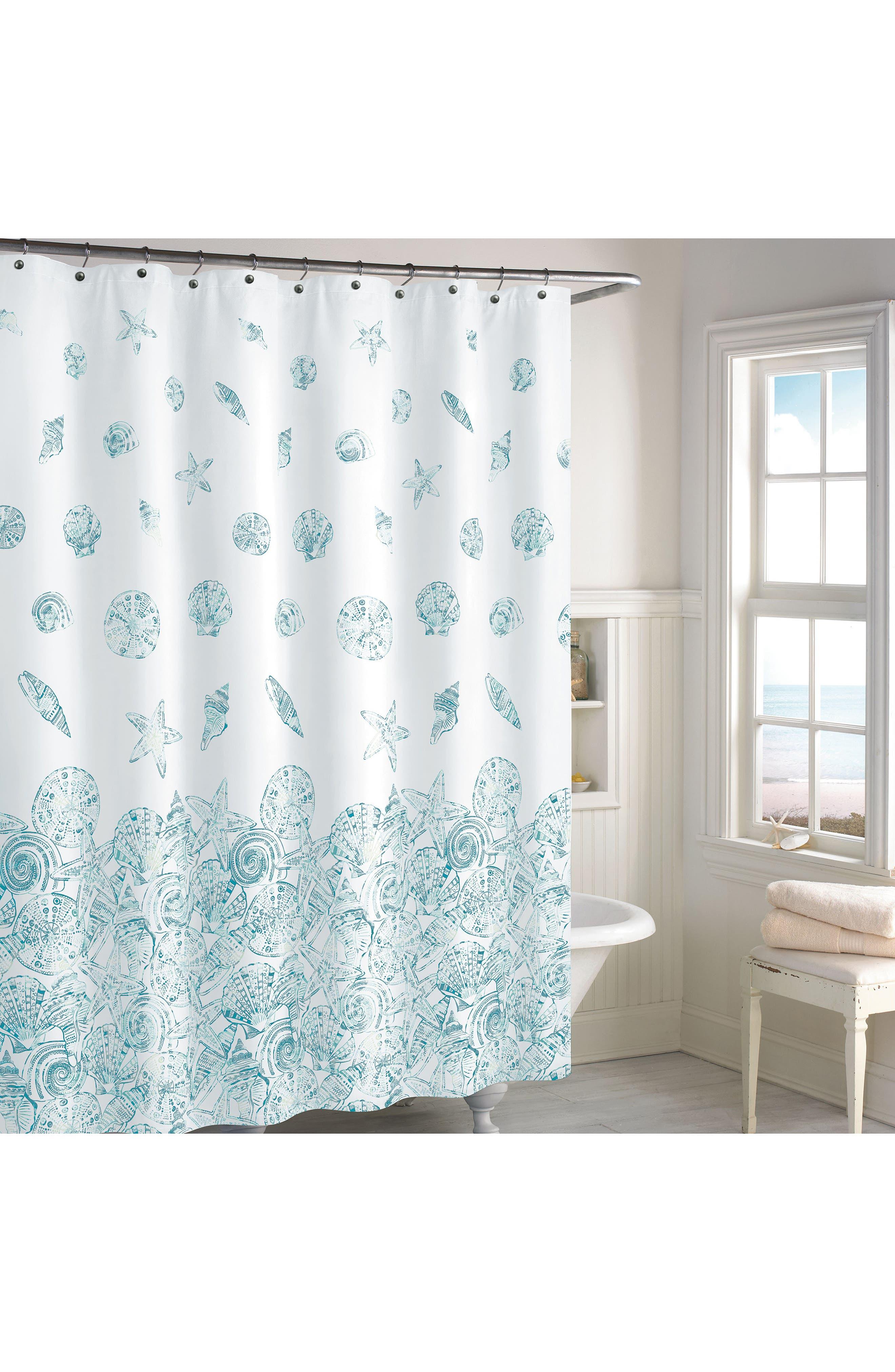 Mykonos Stripe Shower Curtain,                             Main thumbnail 1, color,                             Blue