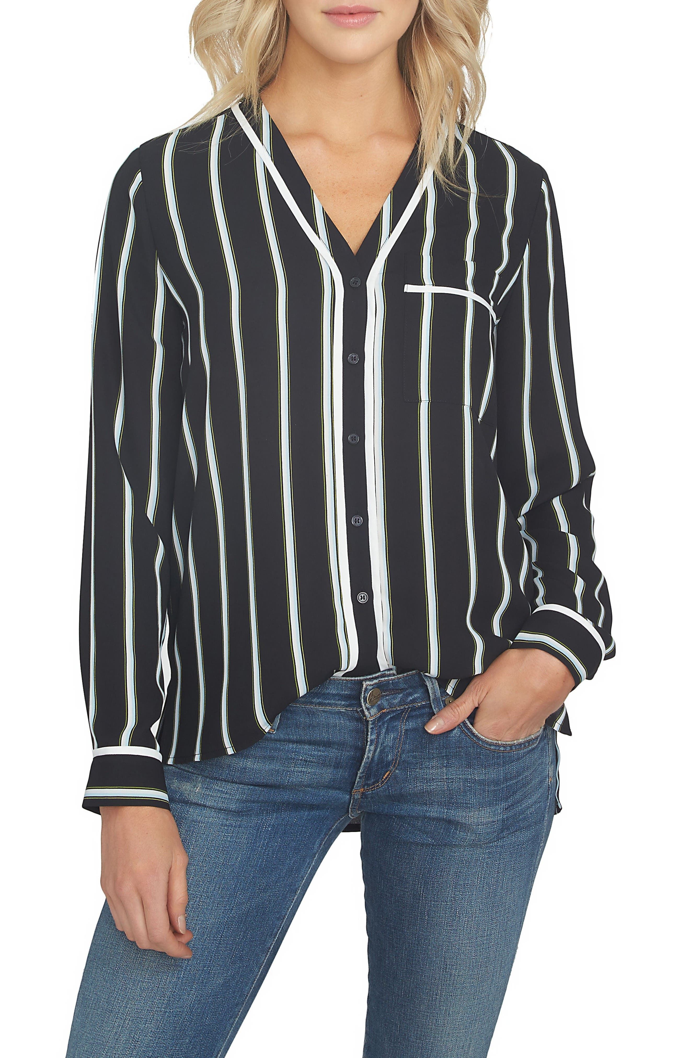 Main Image - 1.STATE Stripe High/Low Blouse