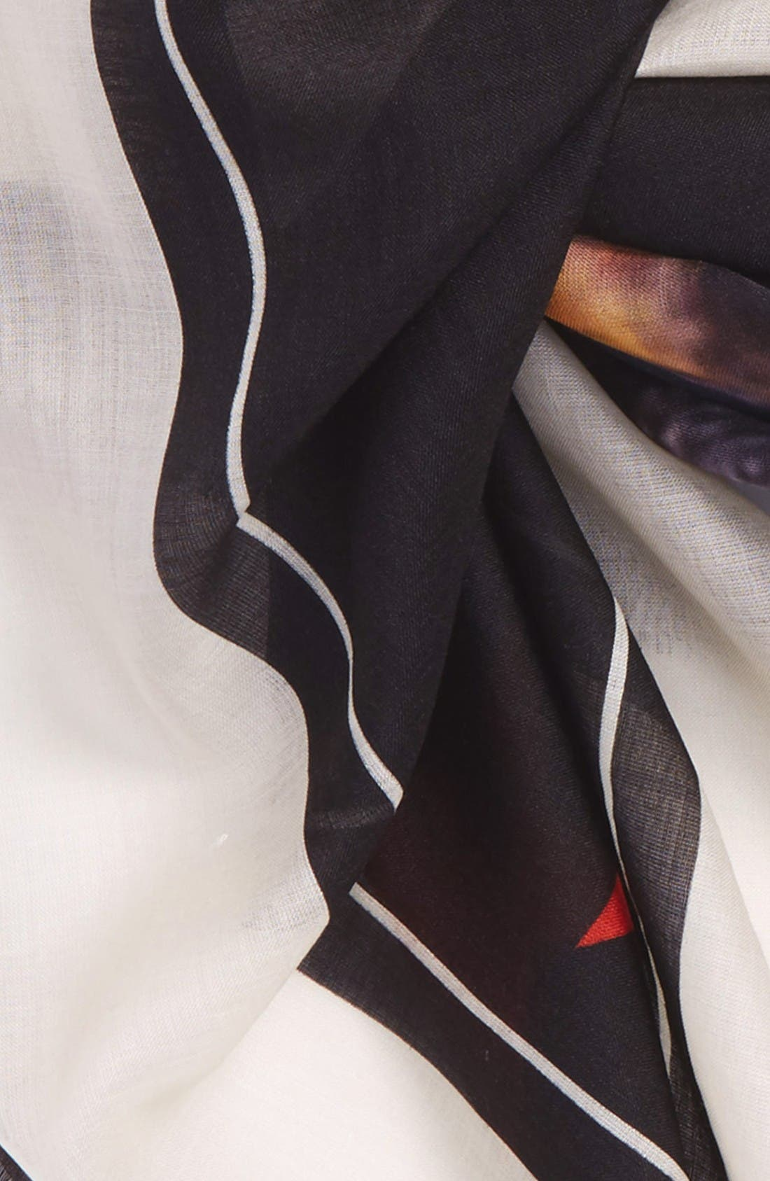 'Rottweiler' Silk Blend Scarf,                             Alternate thumbnail 3, color,                             Ivory