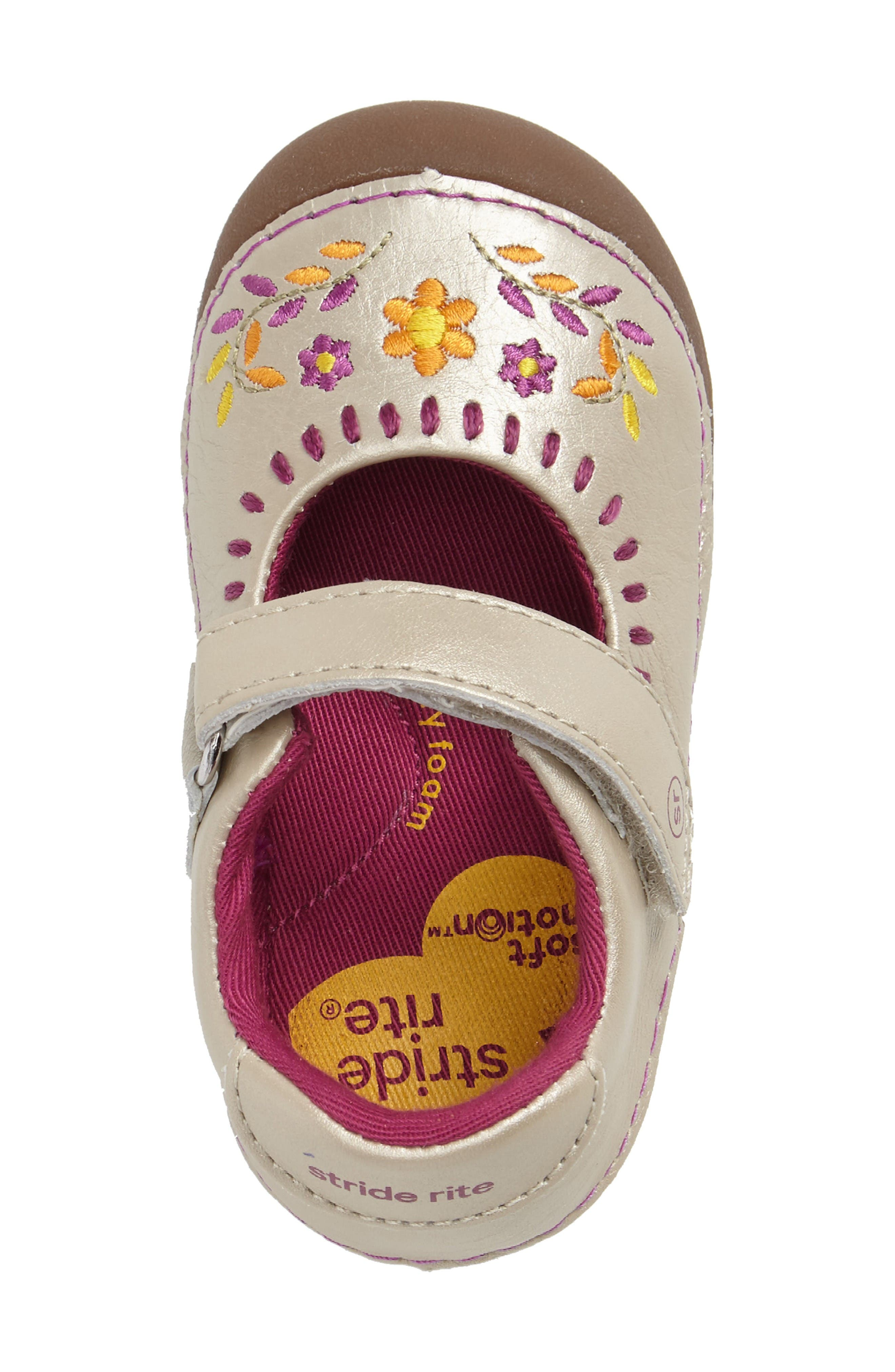 Alternate Image 3  - Stride Rite Atley Flower Embroidered Mary Jane (Baby & Walker)