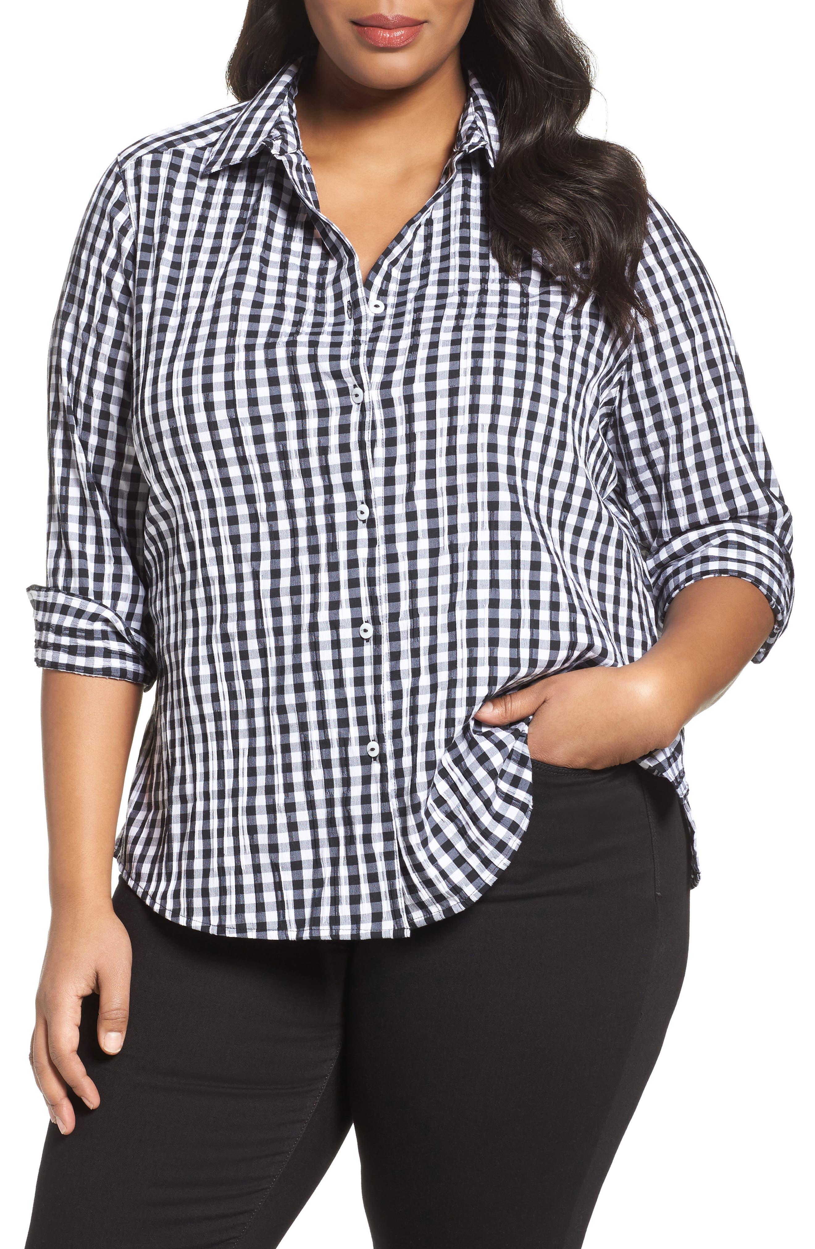 Alternate Image 1 Selected - Foxcroft Gingham Shirt (Plus Size)