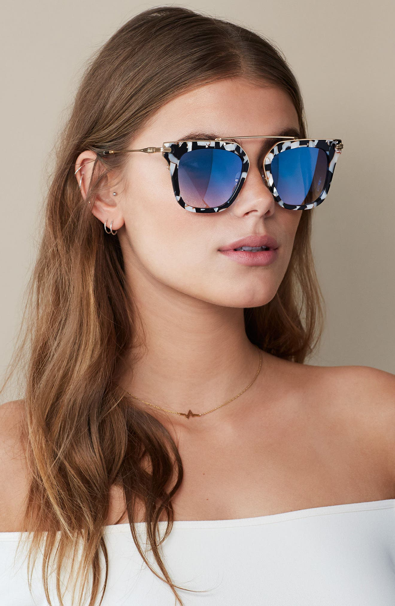 Parker 55mm Sunglasses,                             Alternate thumbnail 2, color,                             Luxe Marble/ Indigo Mirror