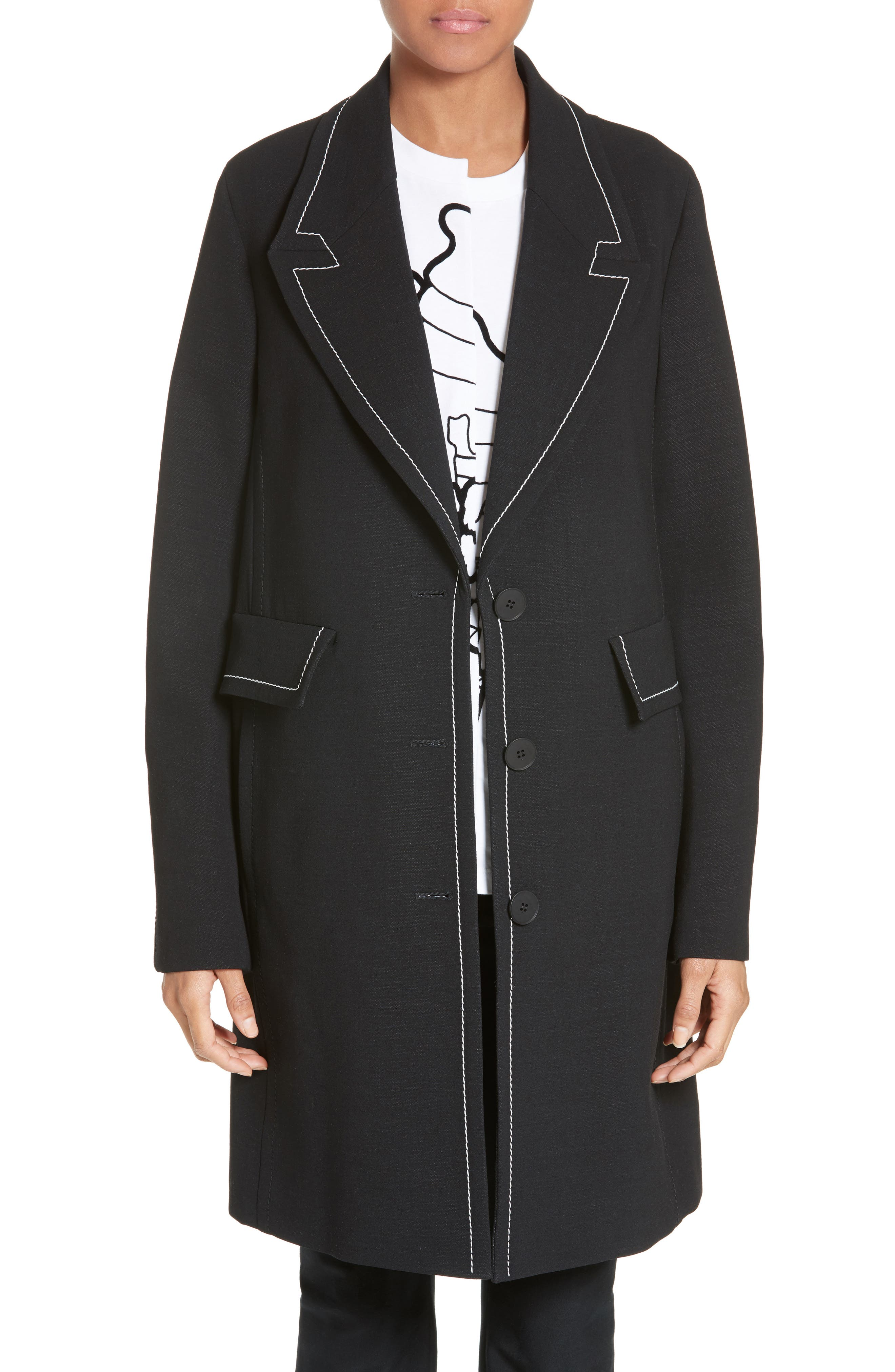 Marcelline Topstitch Double Face Wool Coat,                         Main,                         color, Black/ Mistletoe