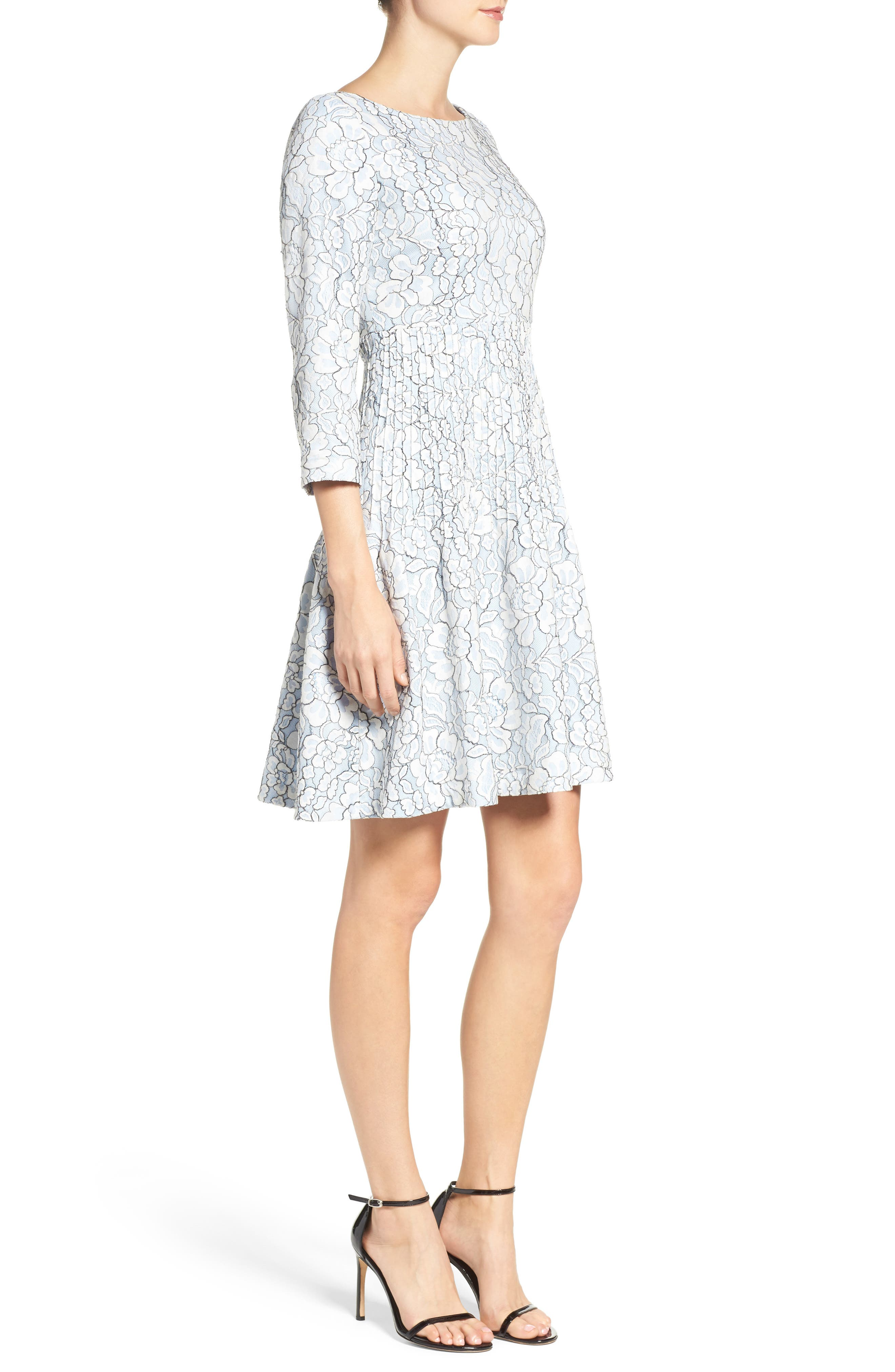 Embroidered Floral Fit & Flare Dress,                             Alternate thumbnail 4, color,                             Ivory/ Blue