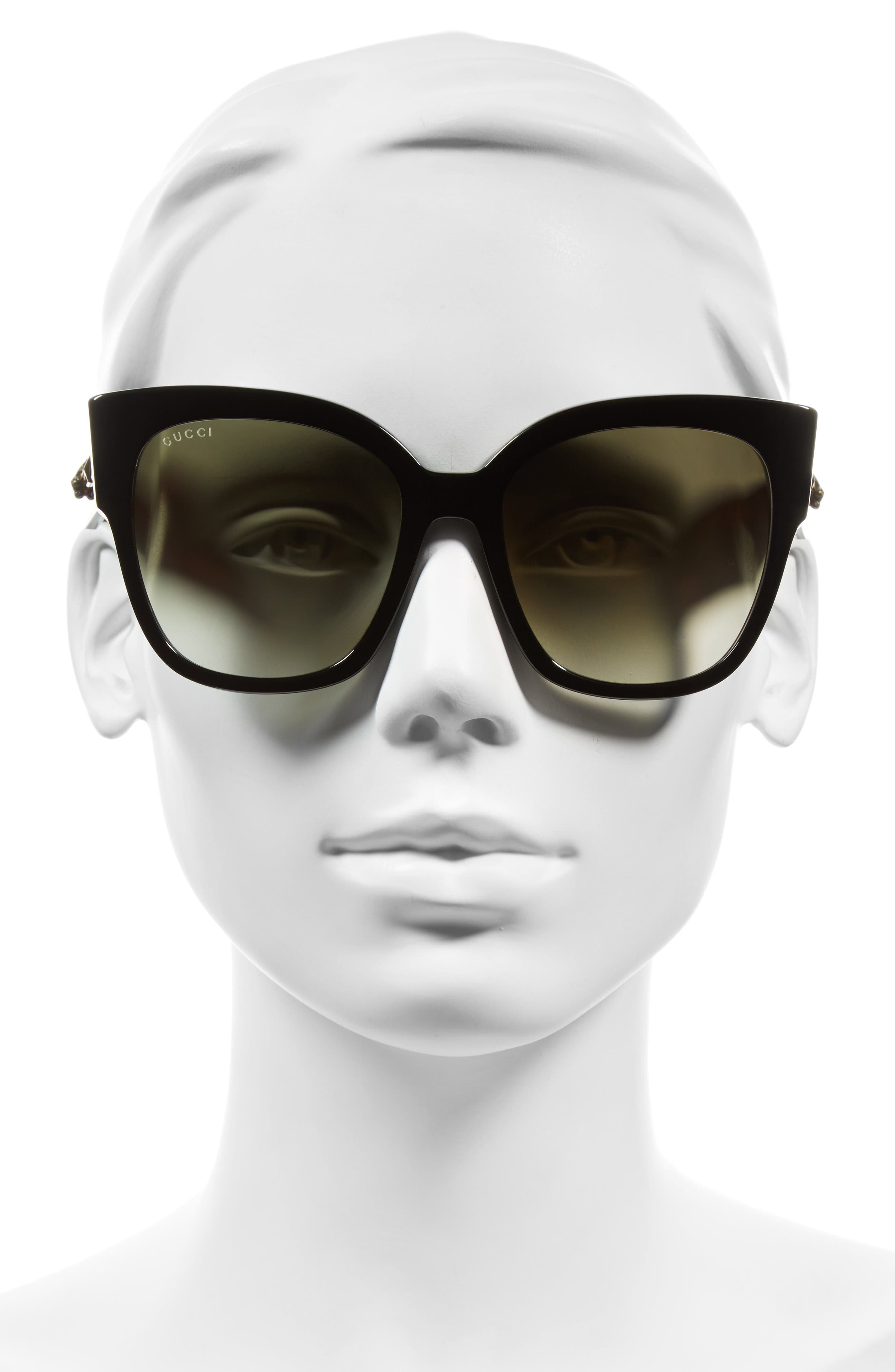 55mm Butterfly Sunglasses,                             Alternate thumbnail 2, color,                             Black/ Green