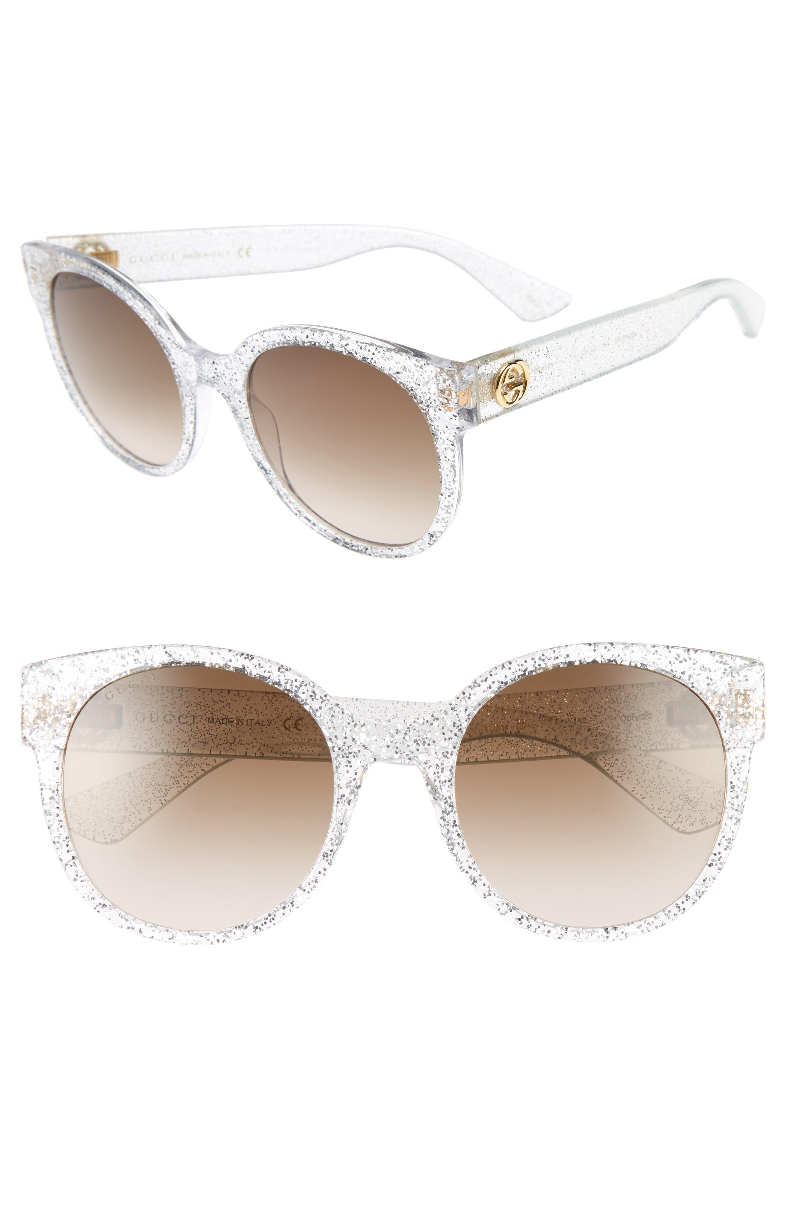 54mm Glitter Sunglasses,                         Main,                         color, Glitter Silver/ Brown