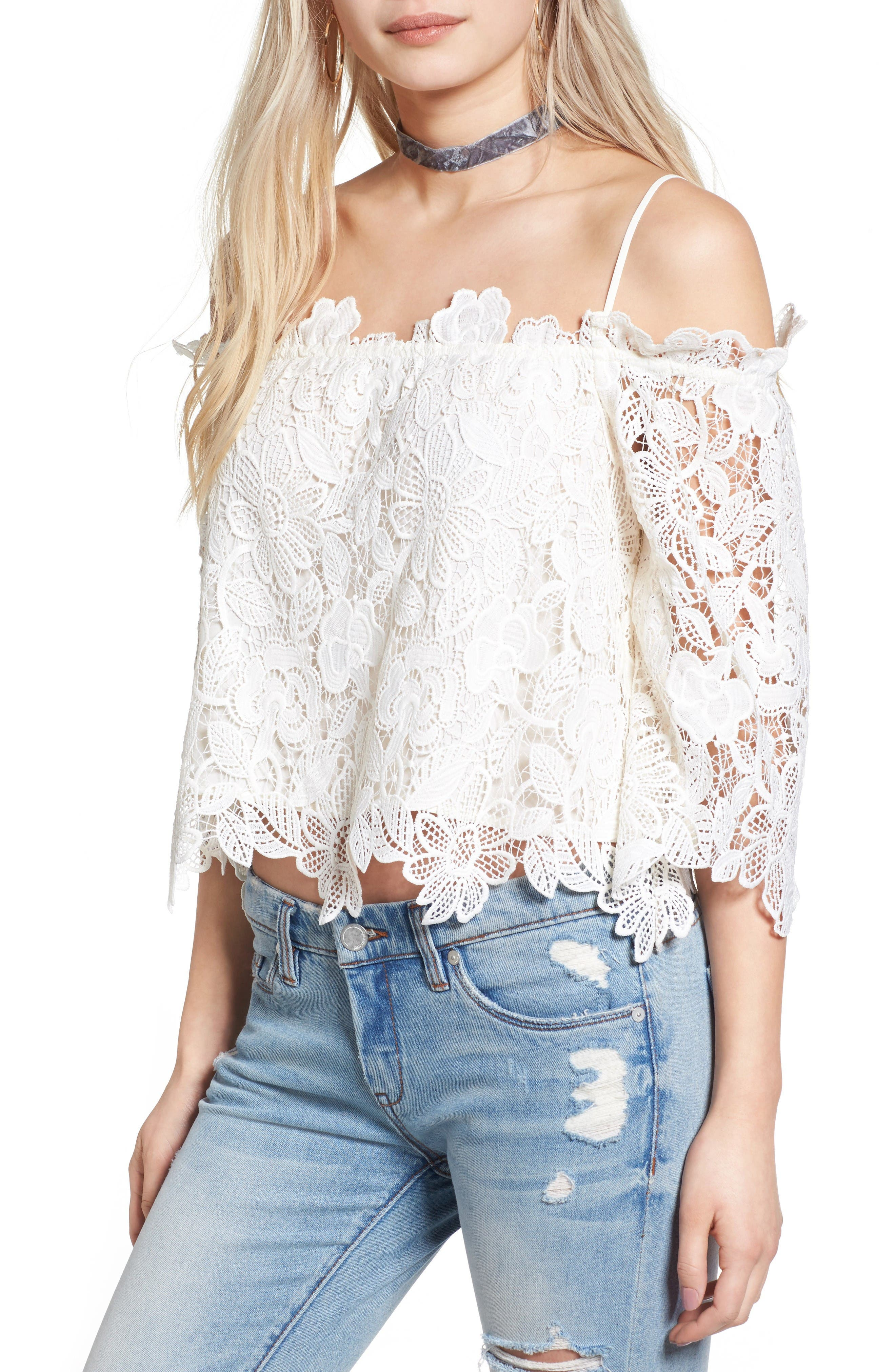 Alternate Image 1 Selected - Astr Amalie Lace Top
