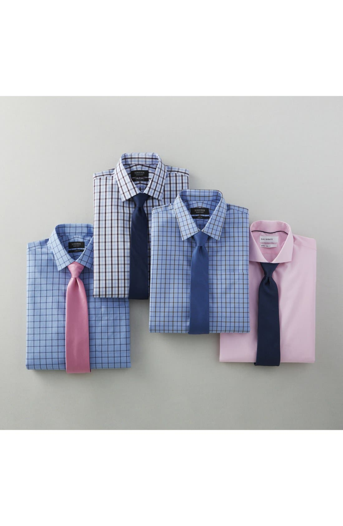 Extra Trim Fit Stretch No-Iron Dress Shirt,                             Alternate thumbnail 5, color,